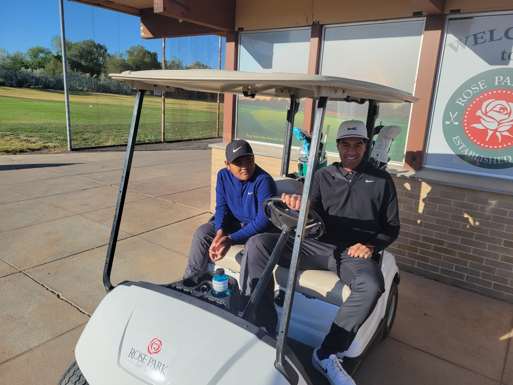 Utah's Tony Finau prepares for a round of golf with his 9-year-old son Jraice at Rose Park Golf course last week.