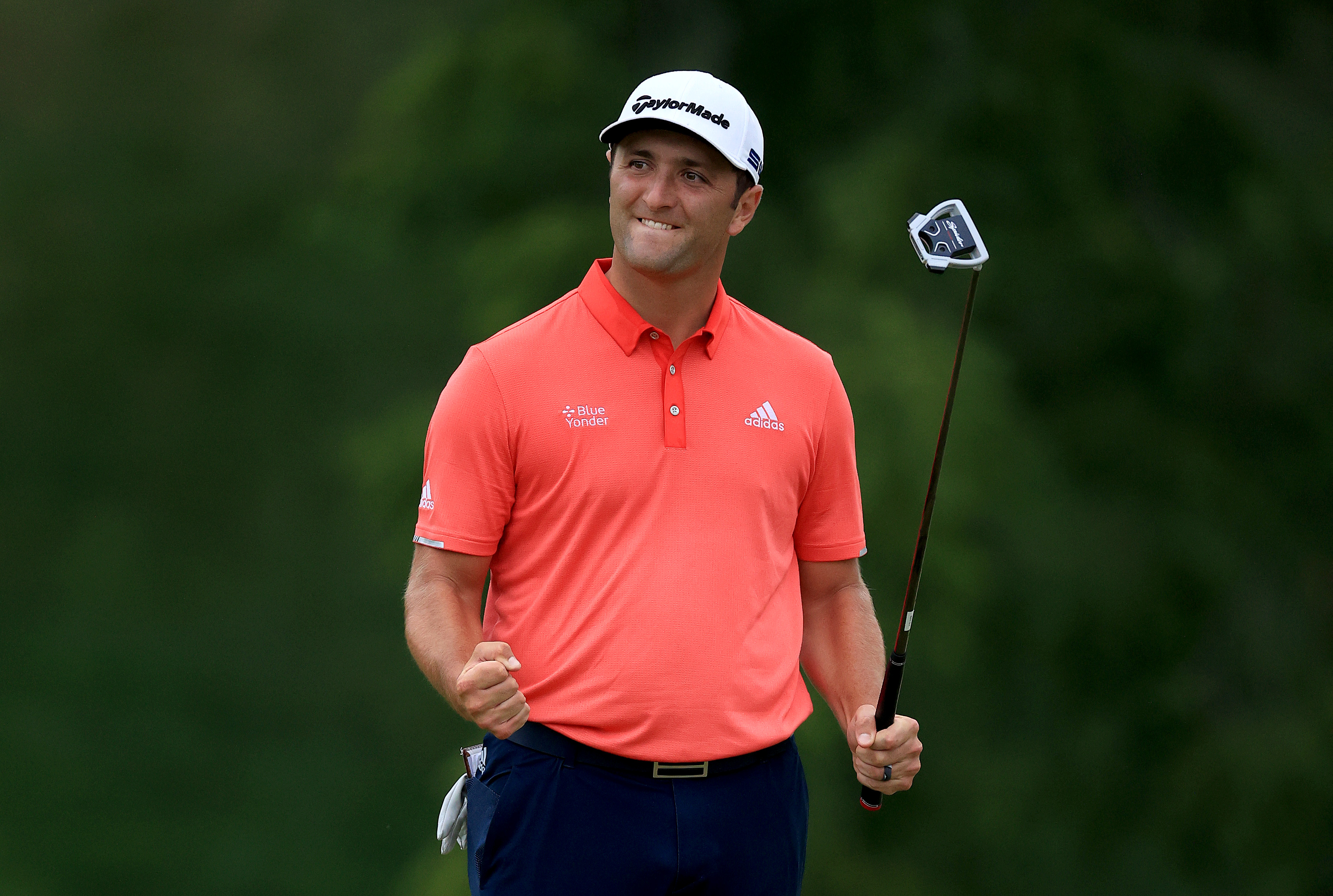 Jon Rahm of Spain celebrates on the 18th green after winning during the final round of The Memorial Tournament on July 19, 2020 at Muirfield Village Golf Club in Dublin, Ohio.