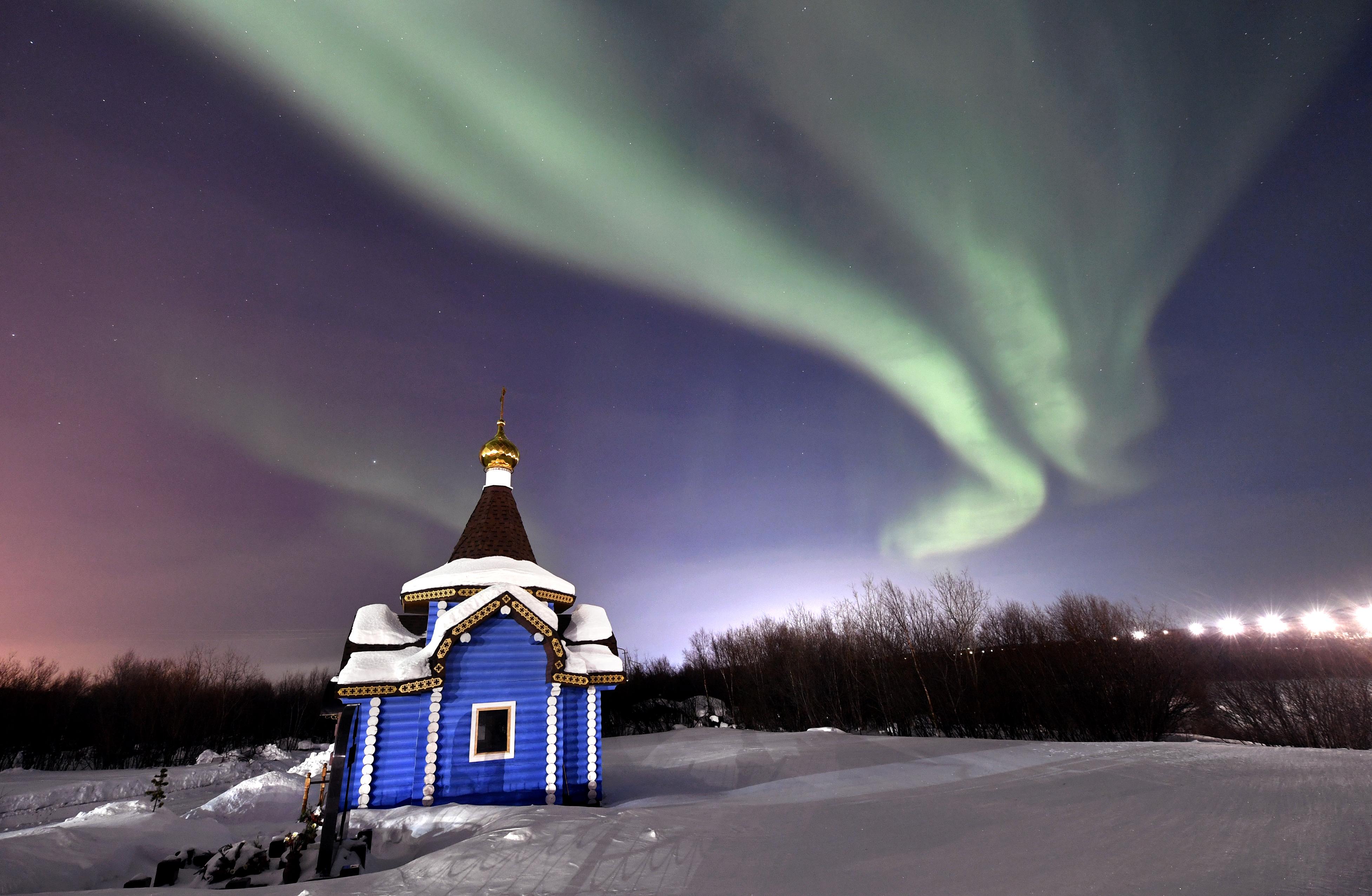 Northern lights in Murmansk, Russia