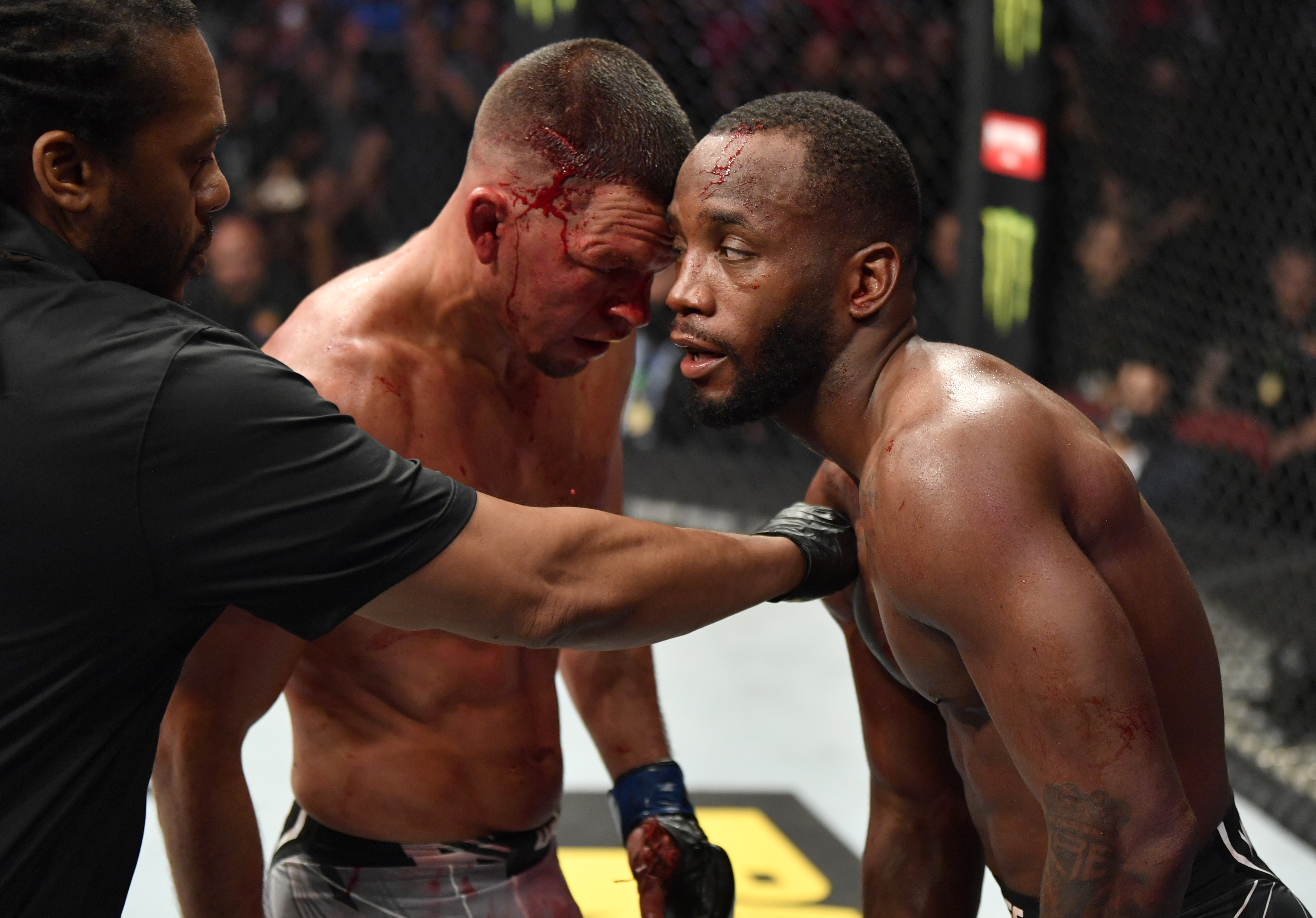 Leon Edwards and Nate Diaz during their fight at UFC 263.