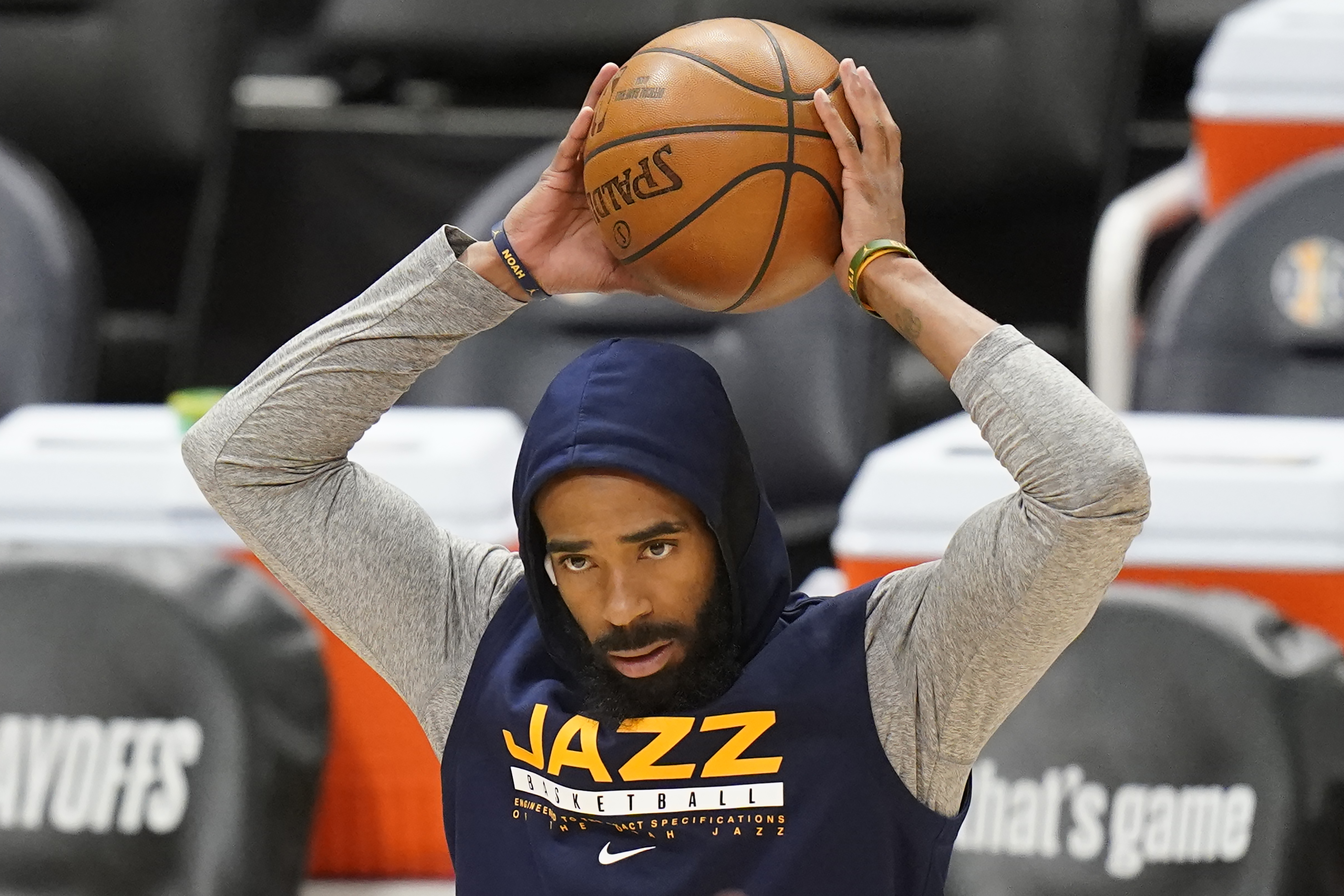 Utah Jazz guard Mike Conley stands on the court before Game 1 of the team's playoff series against the Los Angeles Clippers.