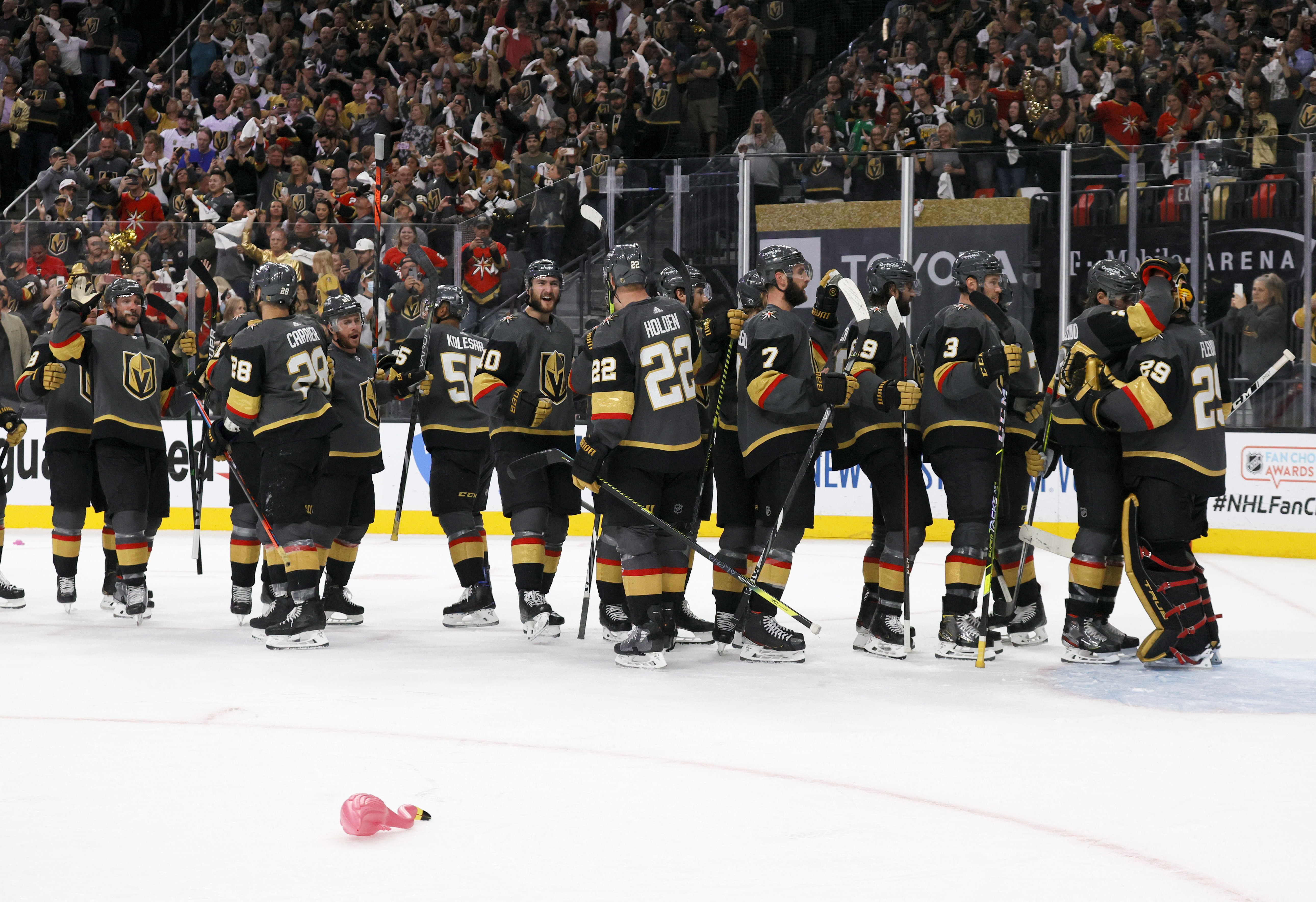The Vegas Golden Knights celebrate their 6-3 victory over the Colorado Avalanche to win Game Six of the Second Round of the 2021 Stanley Cup Playoffs at T-Mobile Arena on June 10, 2021 in Las Vegas, Nevada.