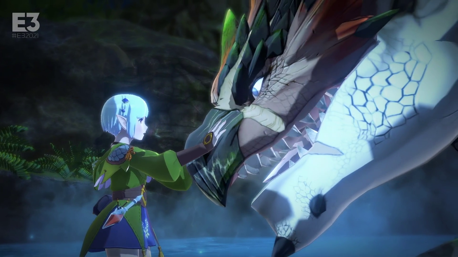 a young woman touches the snout of a monster in Monster Hunter Stories 2: Wings of Ruin
