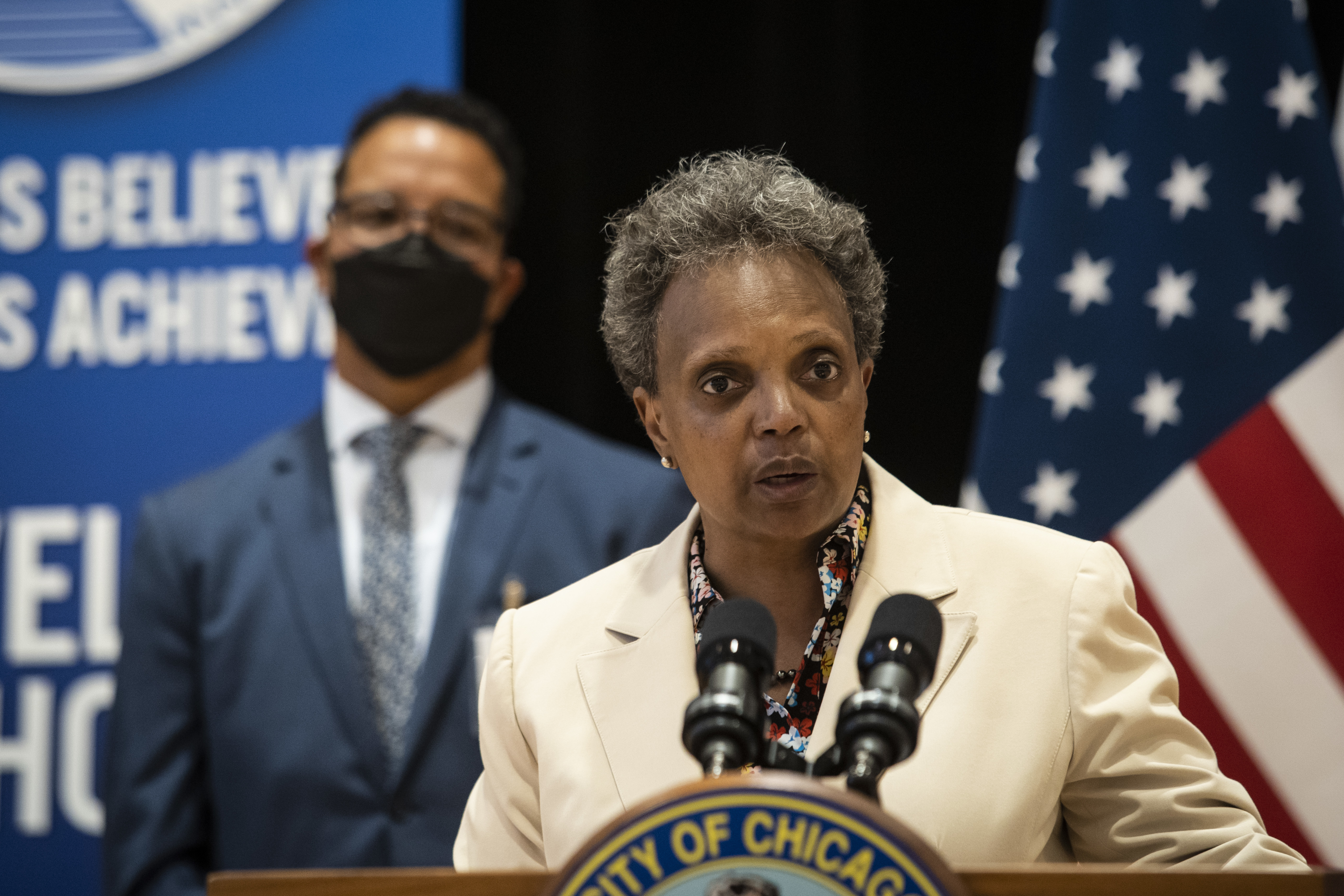 Chicago Mayor Lori Lightfoot, shown on Monday introducing former Elgin schools superintendent José Torres as the interim CEO for Chicago Public Schools,is continuing to make her case against a bill being considered in Springfield that eventually put in place a fully-elected 21-member board to run the state's largest school system.