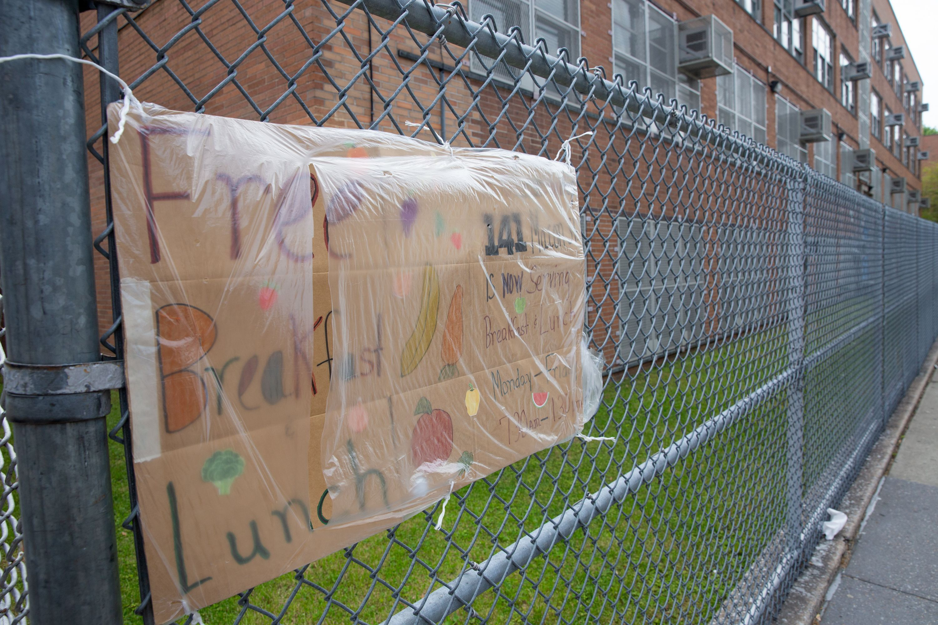A public school in Bed-Stuy, Brooklyn was giving away free food during the coronavirus outbreak.
