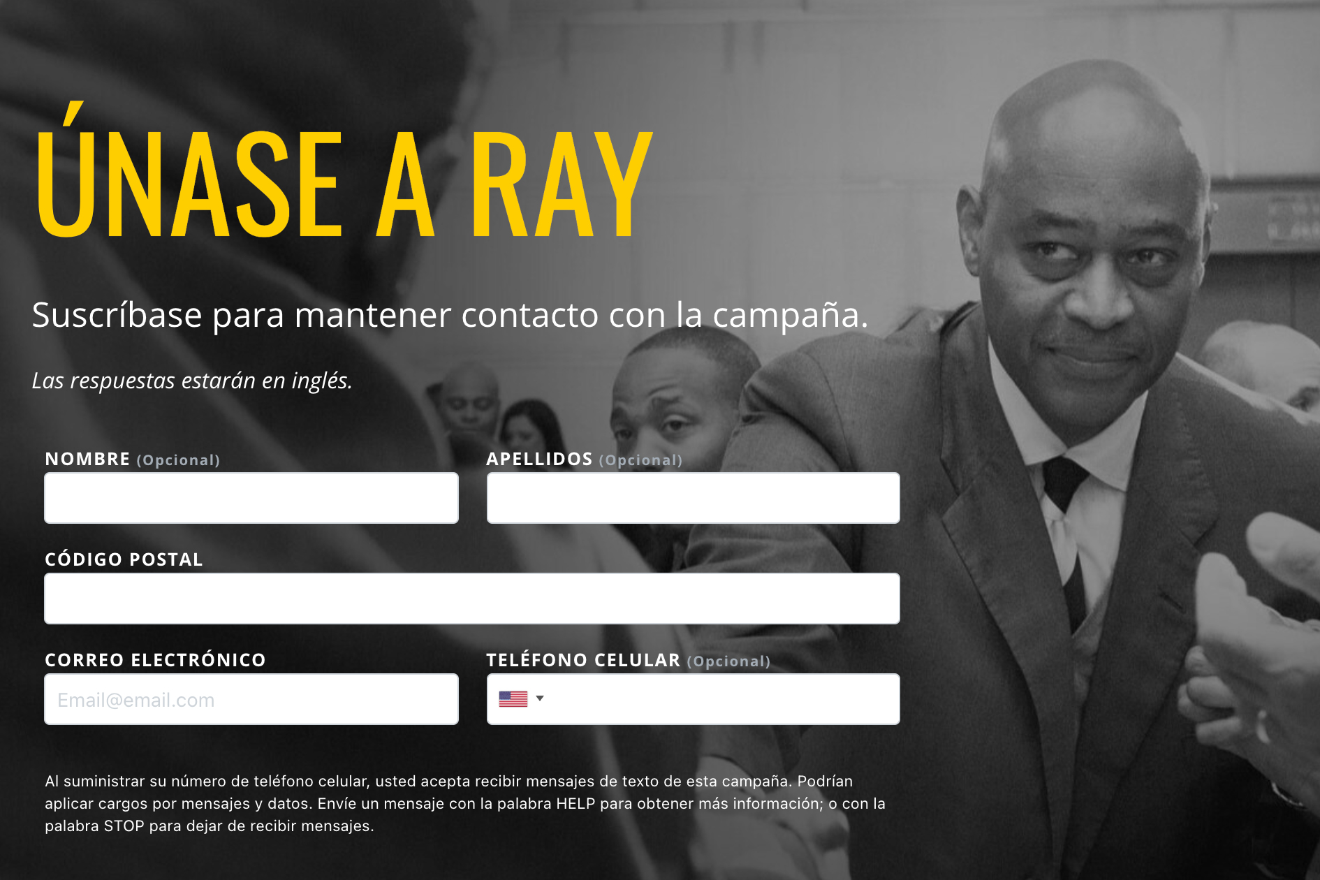 Ray McGuire's official campaign website offered a Spanish version.