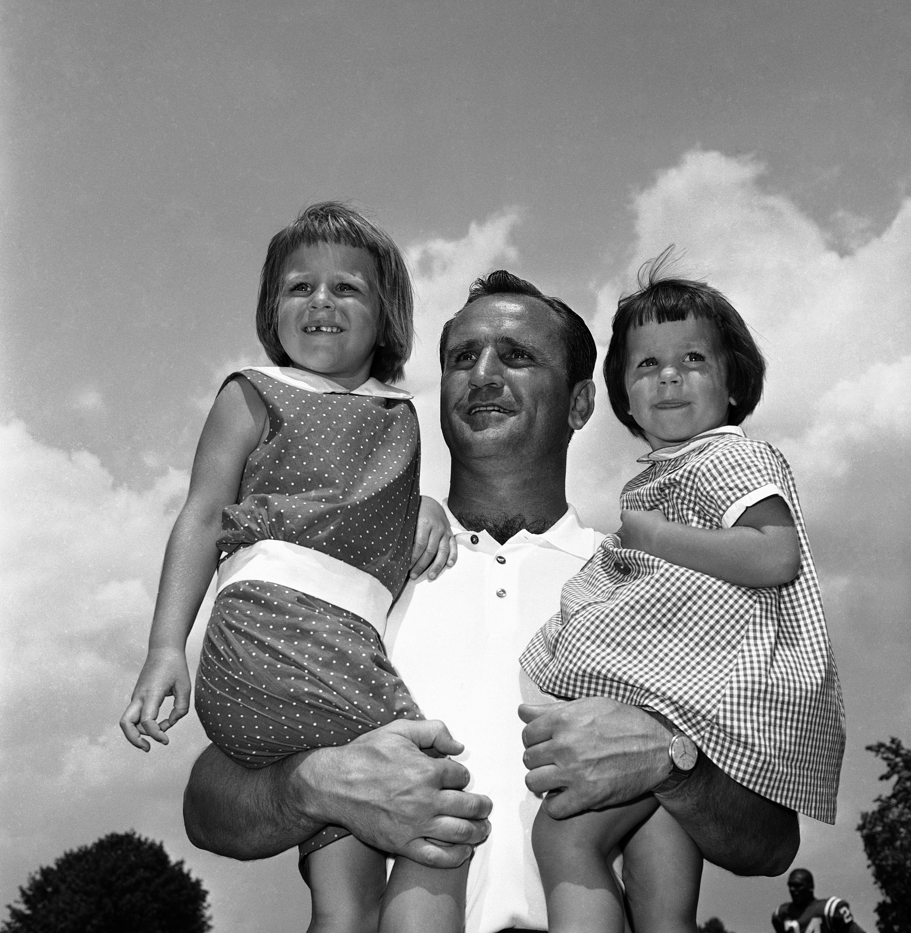 Baltimore Colts coach Don Shula poses with his daughters.