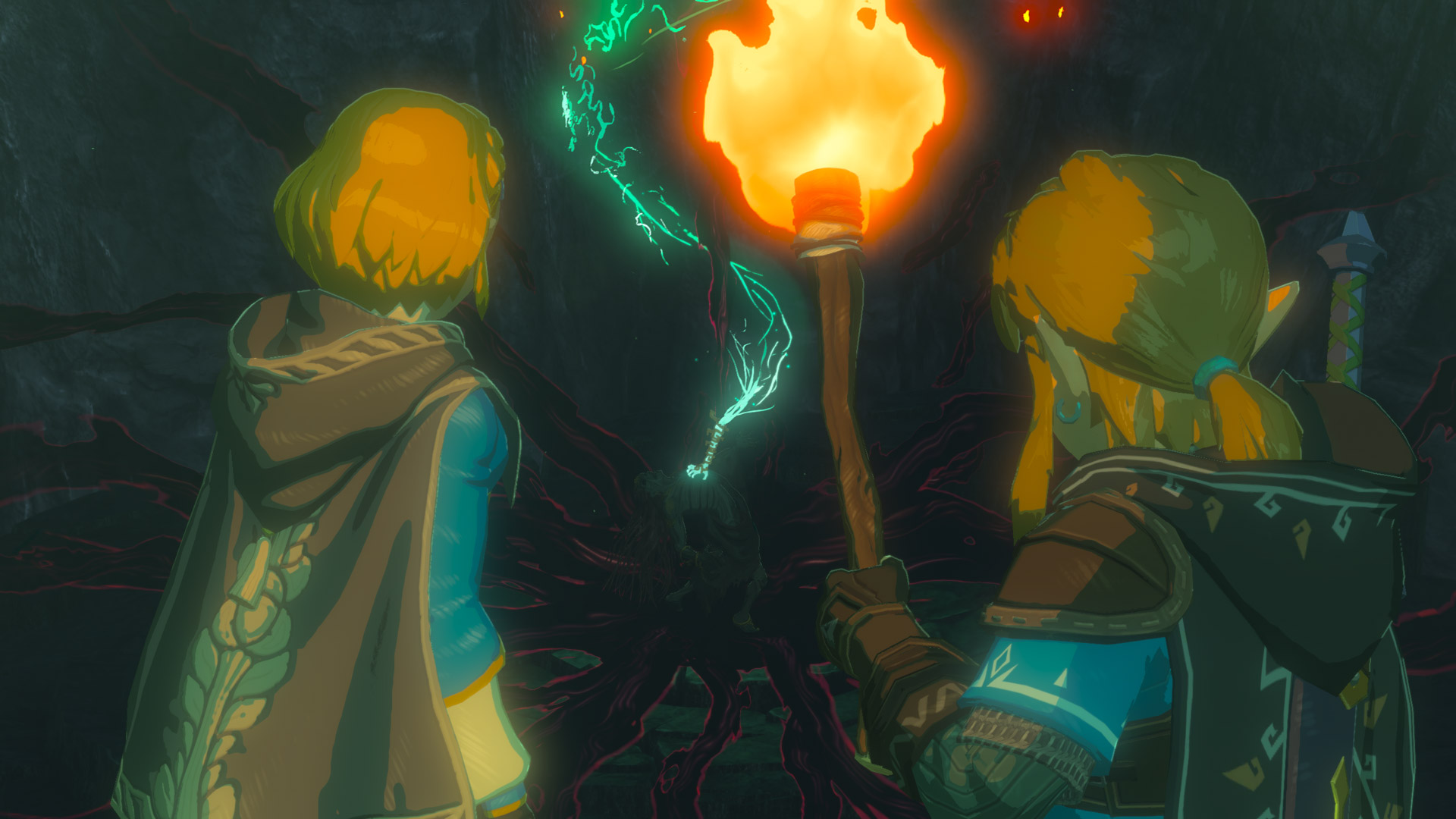 Link and Zelda stare at a mysterious glowing energy source in a screenshot from The Legend of Zelda: Breath of the Wild's sequel