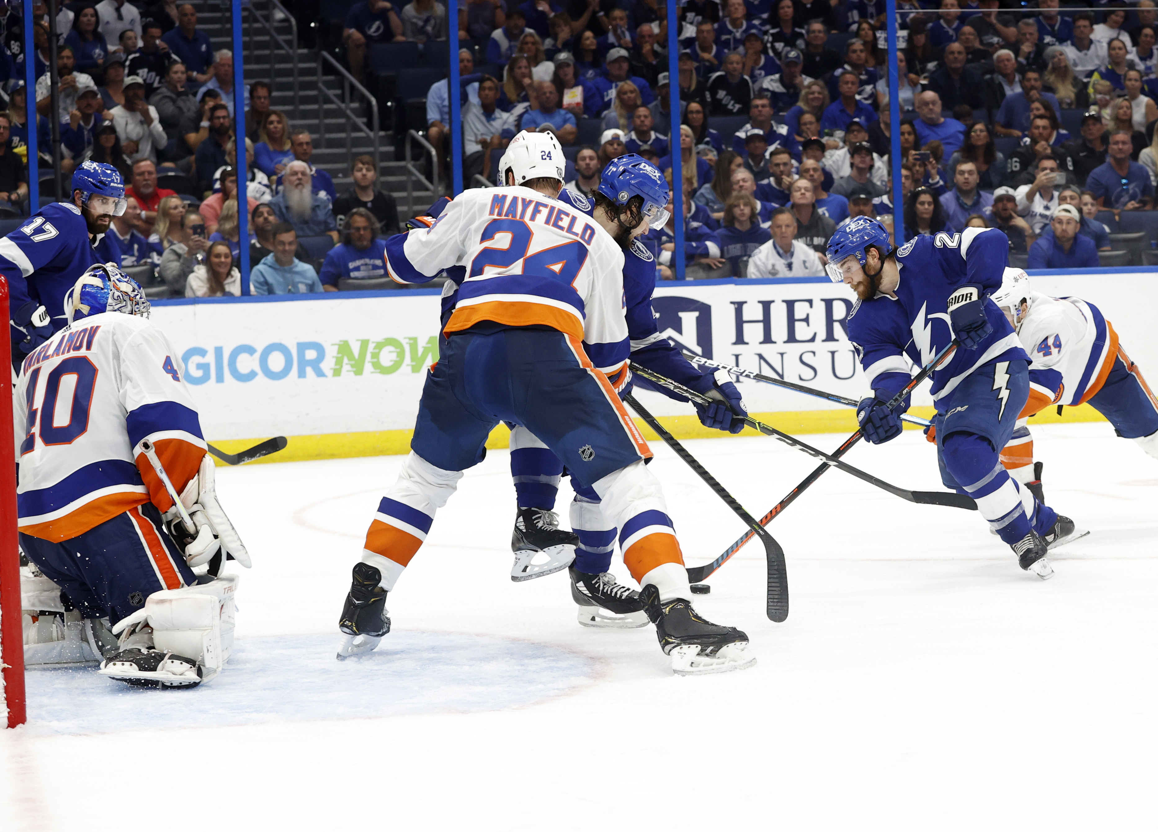 Tampa Bay Lightning center Brayden Point (21) skates and scores a goal on New York Islanders goaltender Semyon Varlamov (40) during the third period in game one of the 2021 Stanley Cup Semifinals at Amalie Arena.