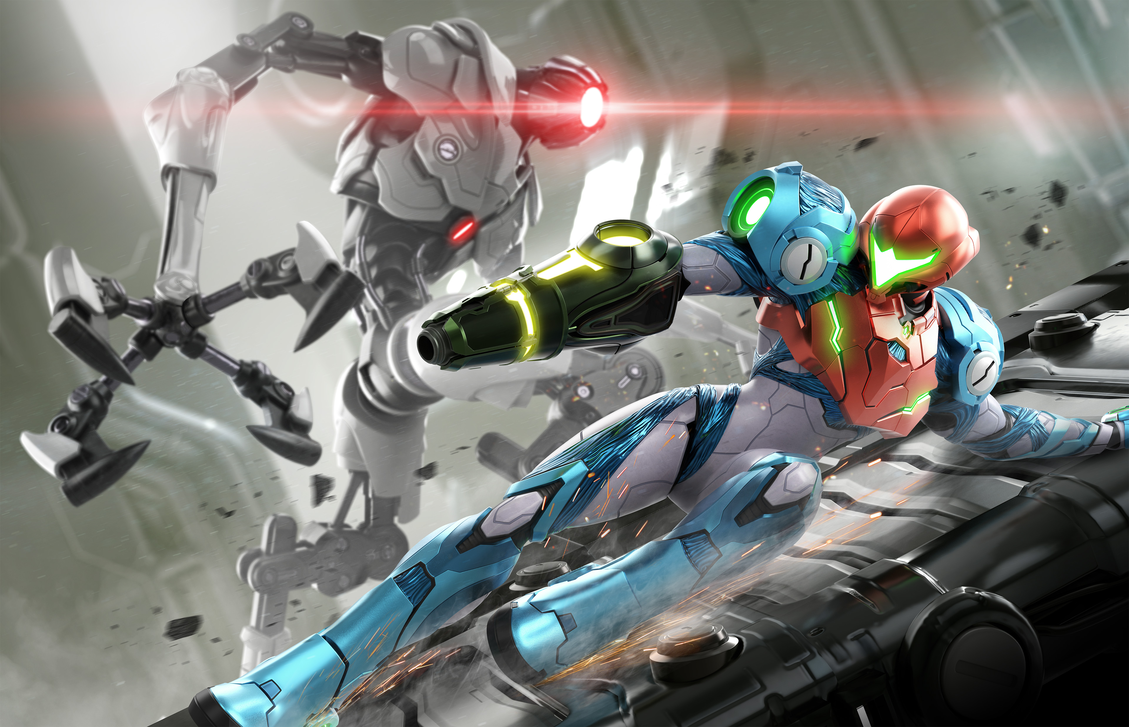 artwork of Samus Aran sliding down a ramp with an EMMI robot in the background in Metroid Dread