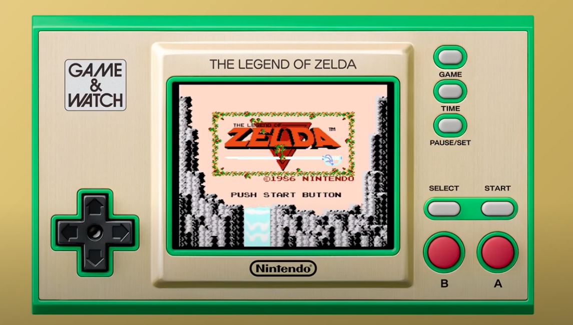 Product shot showing the Nintendo Game & Watch Legend of Zelda anniversary edition, playing the 1986 original The Legend of Zelda