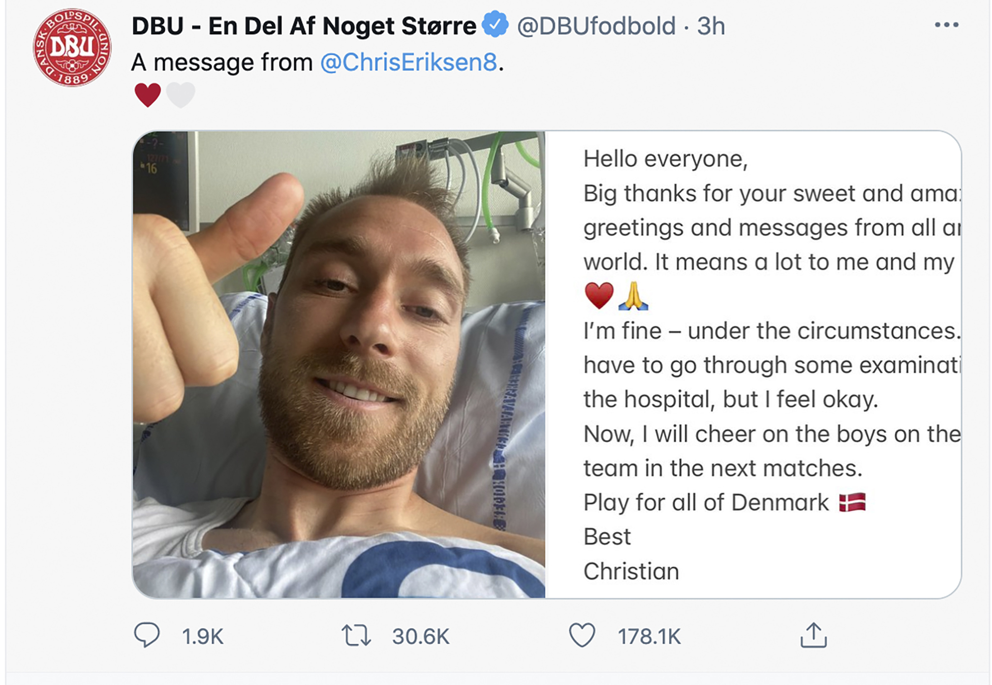 Denmark soccer player Christian Eriksen gesturing from his hospital bed.