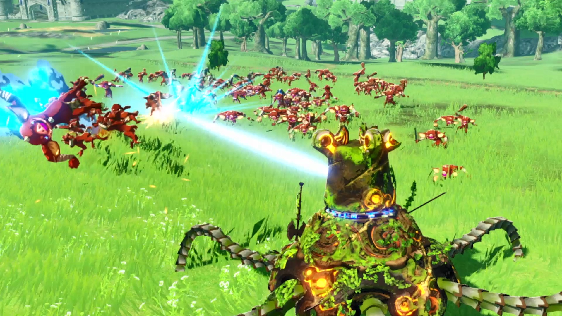 A Guardian kills Bokoblins with an energy beam in a screenshot from Hyrule Warriors: Age of Calamity