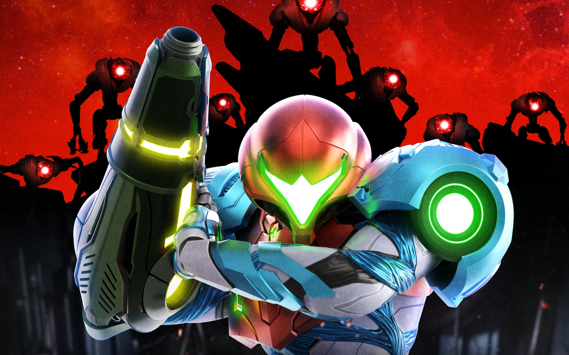 Artwork of Samus Aran surrounded by EMMI in the cover art for Metroid Dread
