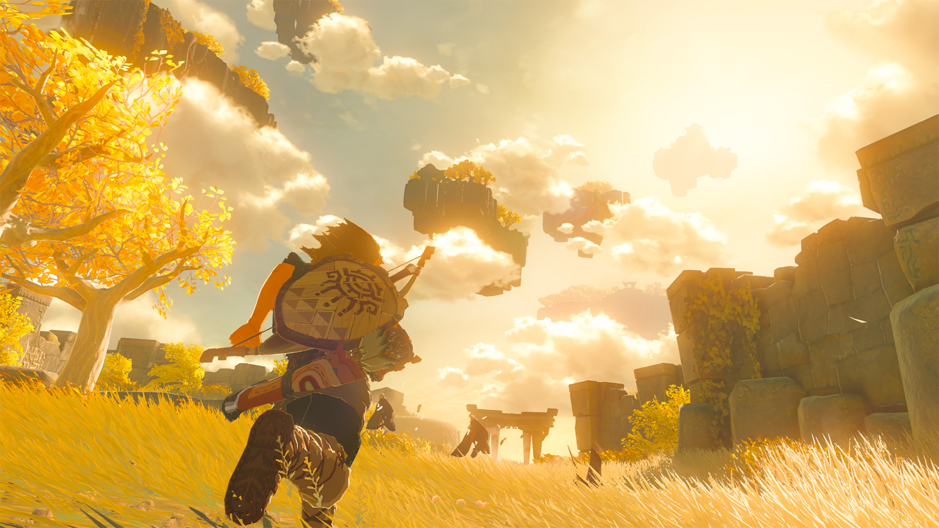 Link running through a field of golden grass in the sequel to The Legend of Zelda: Breath of the Wild