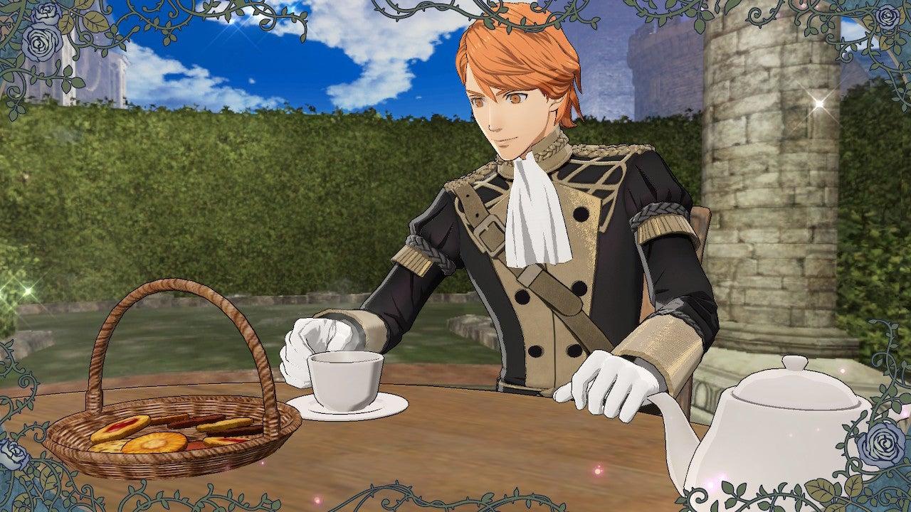 A redhead man in a fancy uniform sips tea in Fire Emblem: Three Houses