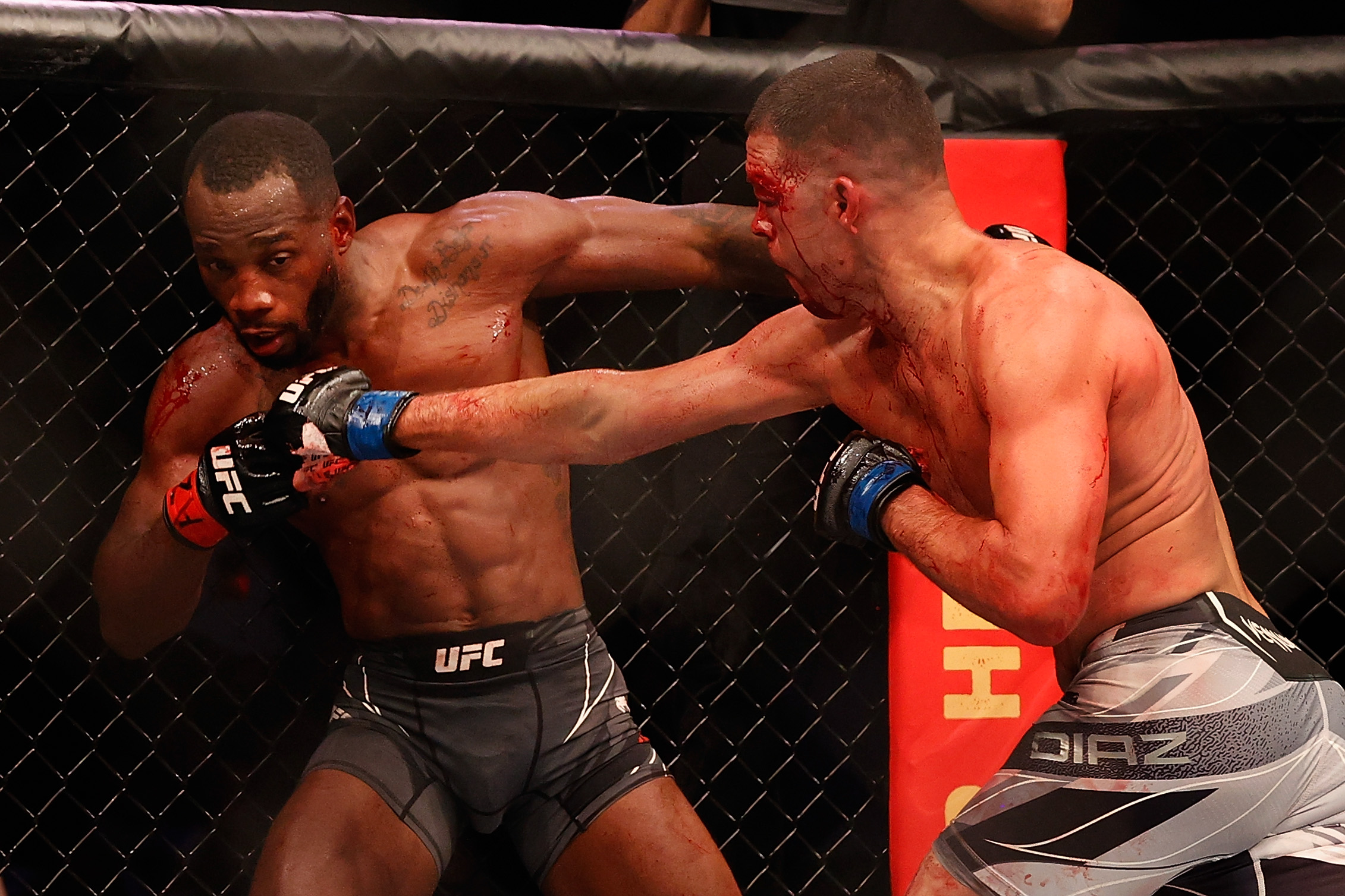 Leon Edwards eats a right hand during his UFC 263 fight against Nate Diaz.
