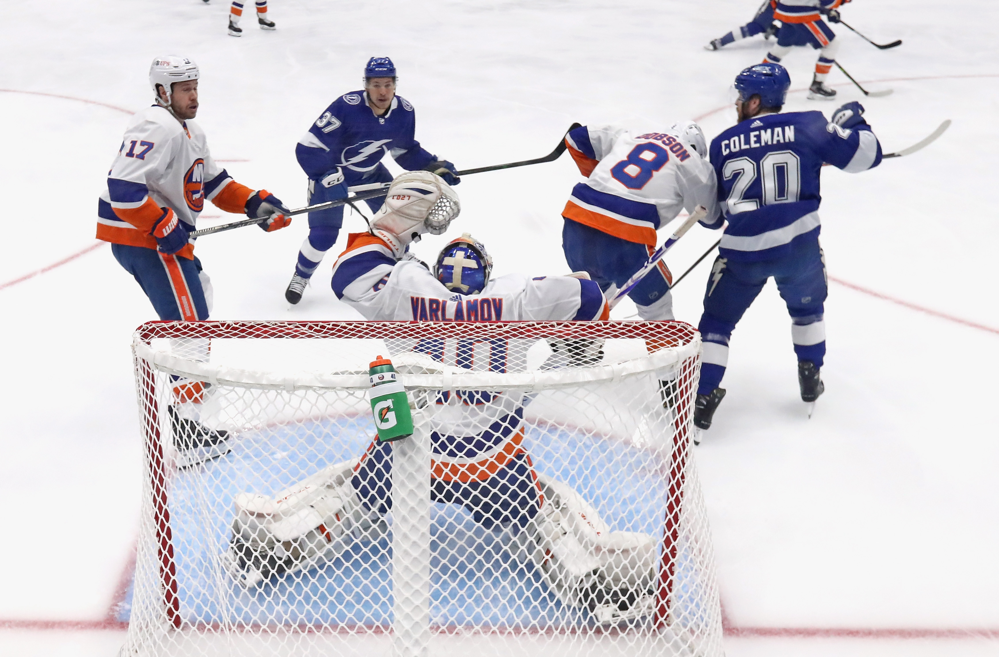 Semyon Varlamov #40 of the New York Islanders tends net against the Tampa Bay Lightning in Game One of the Stanley Cup Semifinals during the 2021 Stanley Cup Playoffs at the Amalie Arena on June 13, 2021 in Tampa, Florida. The Islanders defeated the Lightning 2-1.