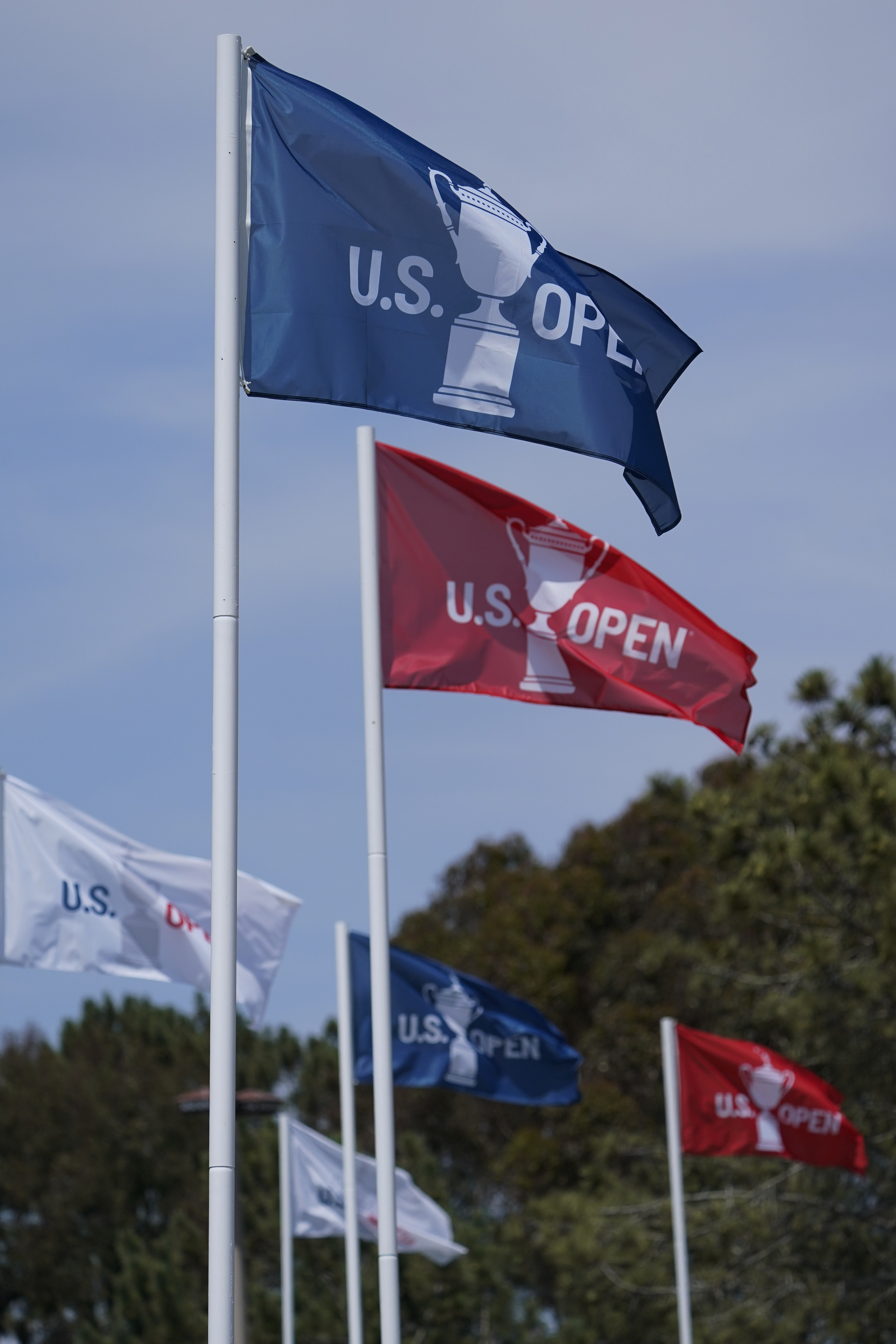 A stiff breeze blowing the U.S. Open flags during a practice round of the U.S. Open golf tournament at Torrey Pines.