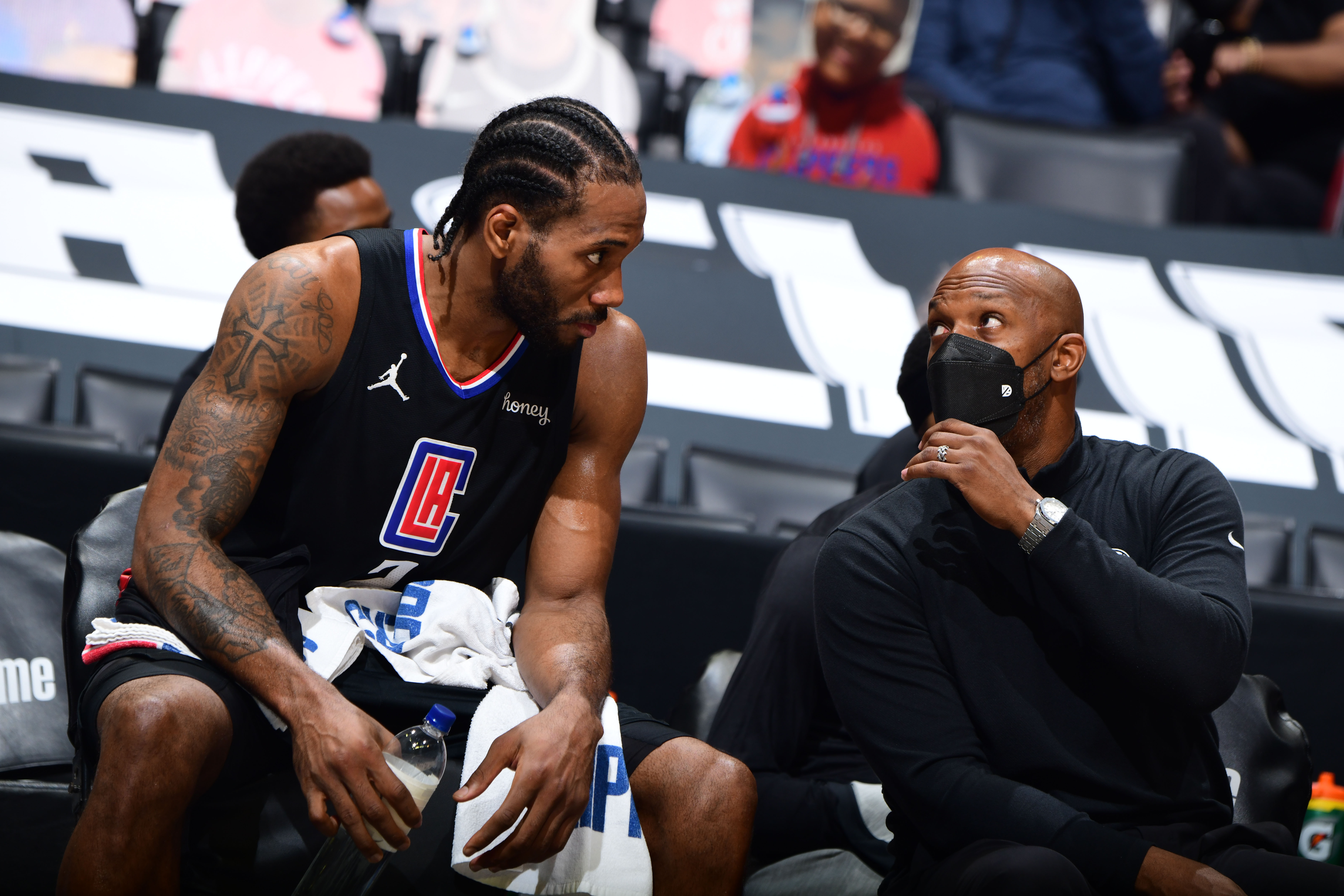 Assistant Coach Chauncey Billups of the LA Clippers talks with Kawhi Leonard #2 during Round 2, Game 4 of 2021 NBA Playoffs on June 14, 2021 at STAPLES Center in Los Angeles, California.