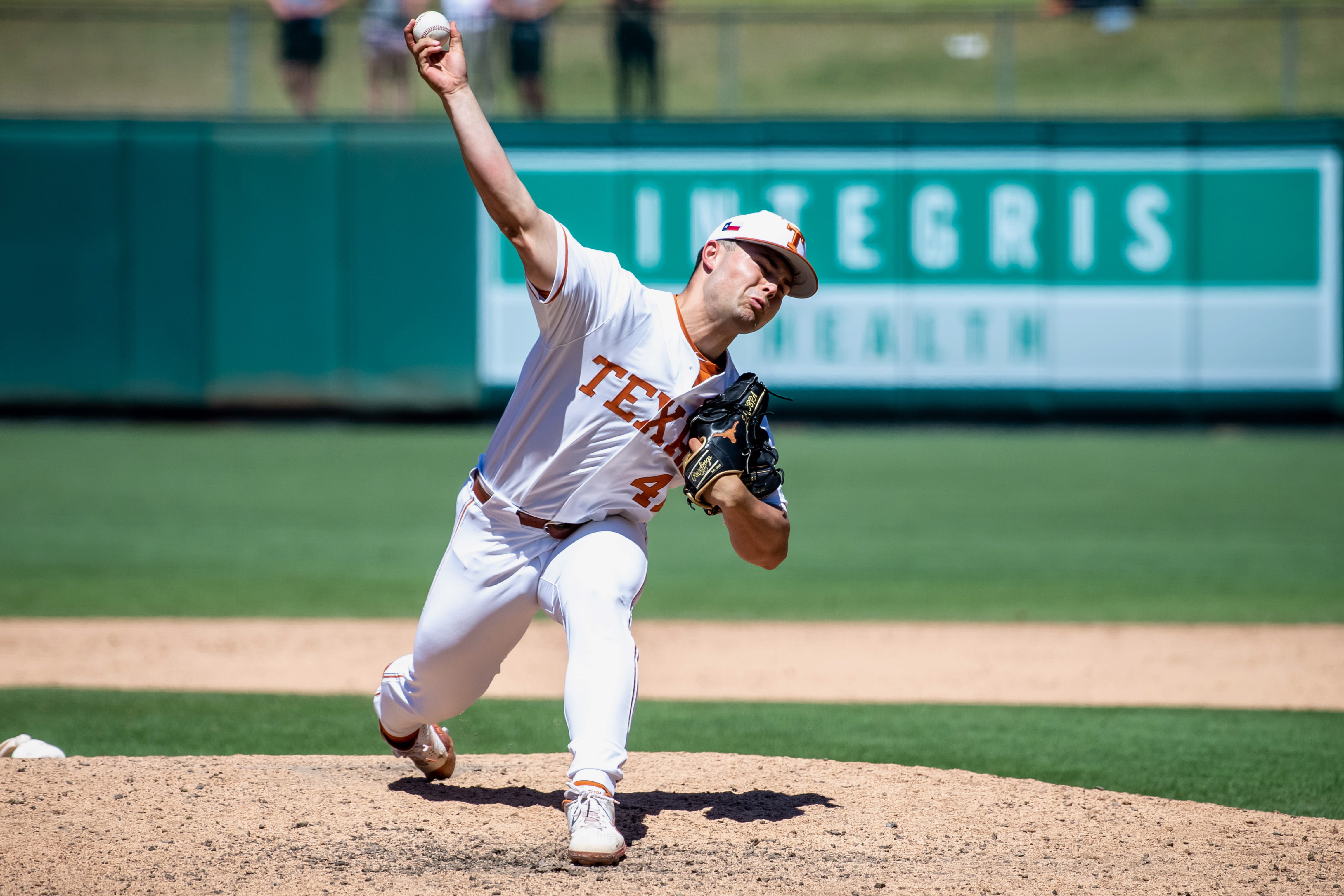 Texas Longhorns pitcher Aaron Nixon (41) throws against the Oklahoma State Cowboys during the Big 12 Conference Baseball Tournament at Chickasaw Bricktown Ballpark.