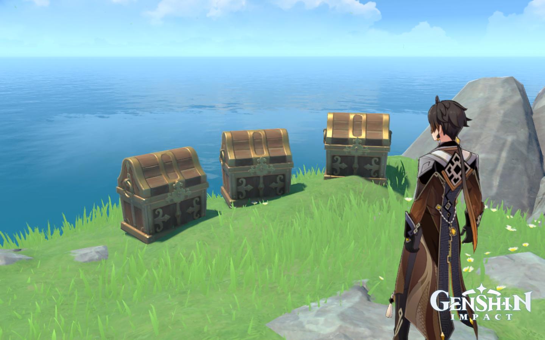Zhongli looks at three treasure chests in Genshin Impact