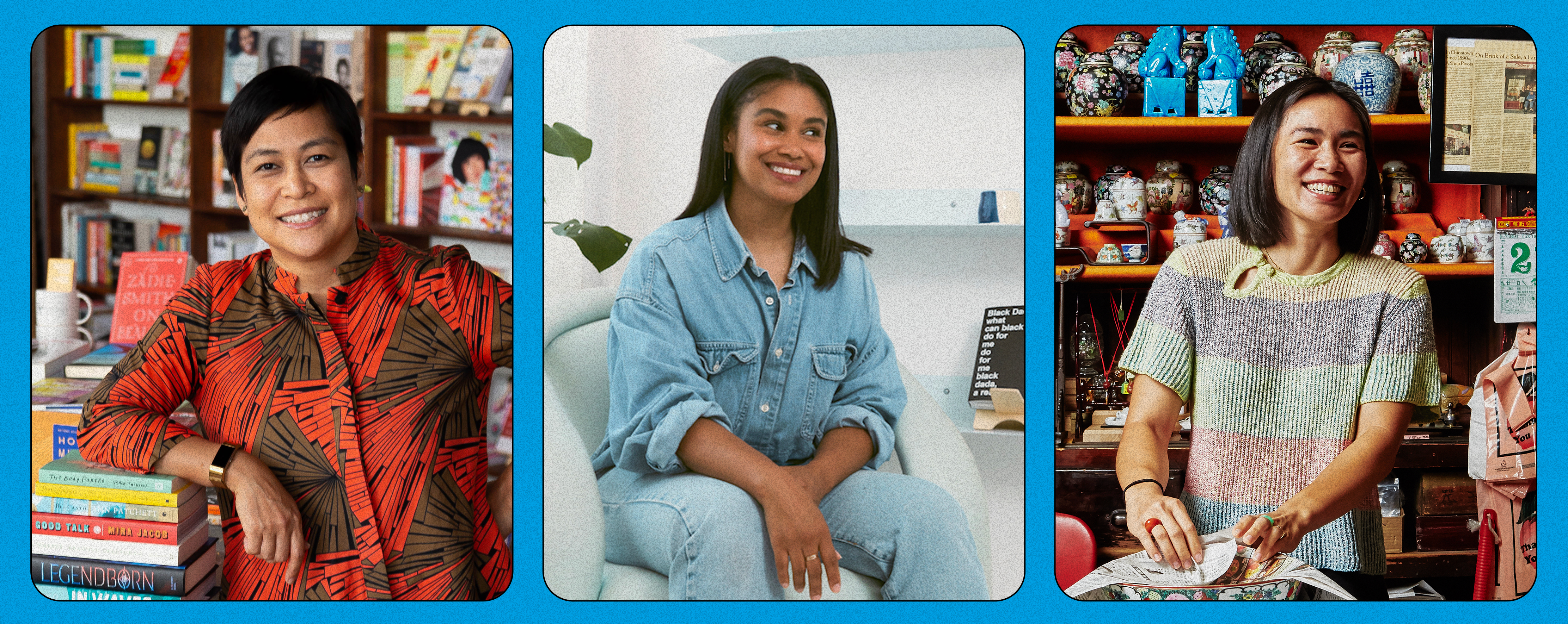 Three separate pictures of three businesswomen are tied together using a light blue color. They're all smiling and happy, shot within their businesses