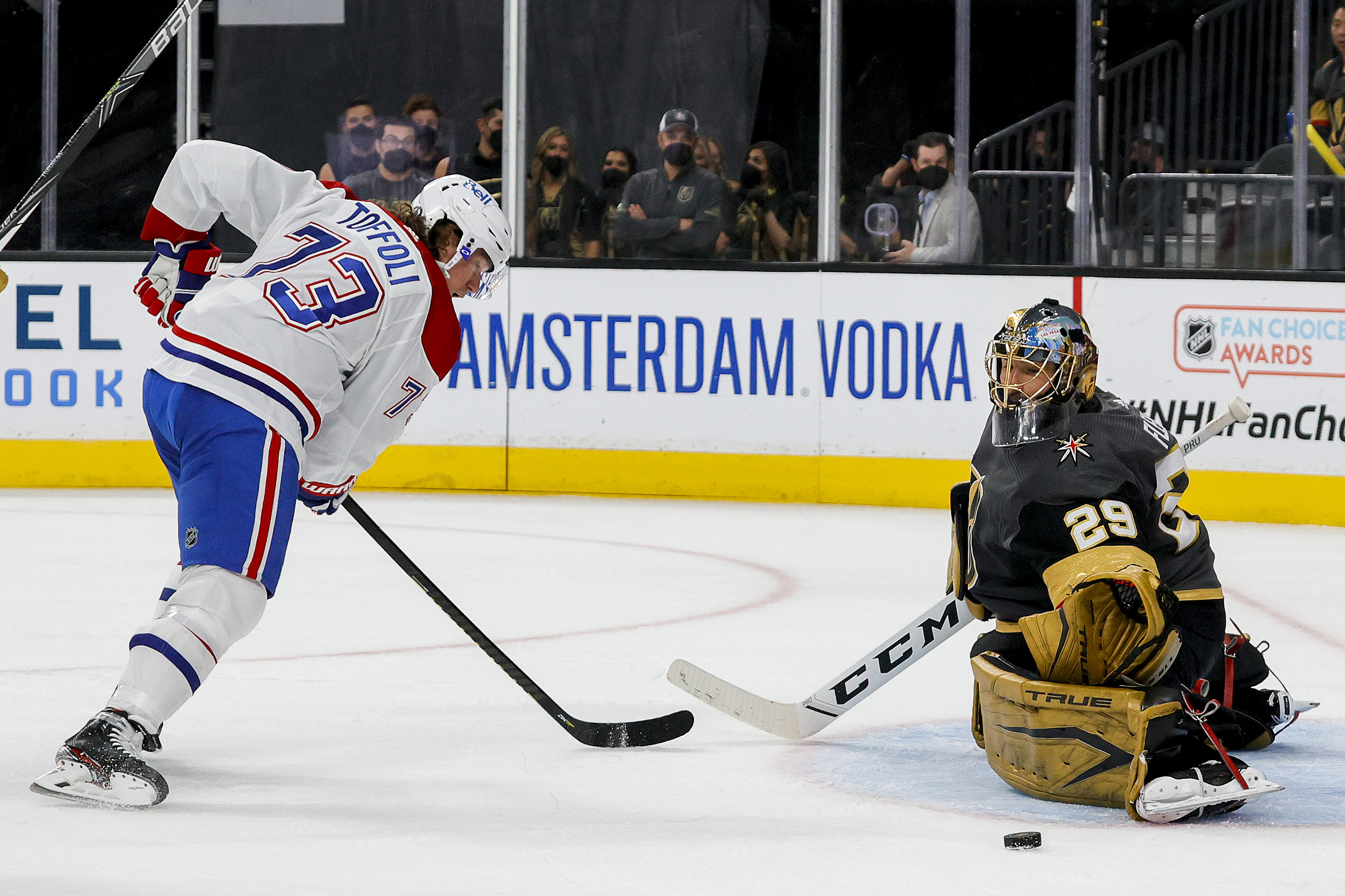 Marc-Andre Fleury #29 of the Vegas Golden Knights makes the save against Tyler Toffoli #73 of the Montreal Canadiens during the third period in Game One of the Stanley Cup Semifinals during the 2021 Stanley Cup Playoffs at T-Mobile Arena on June 14, 2021 in Las Vegas, Nevada.