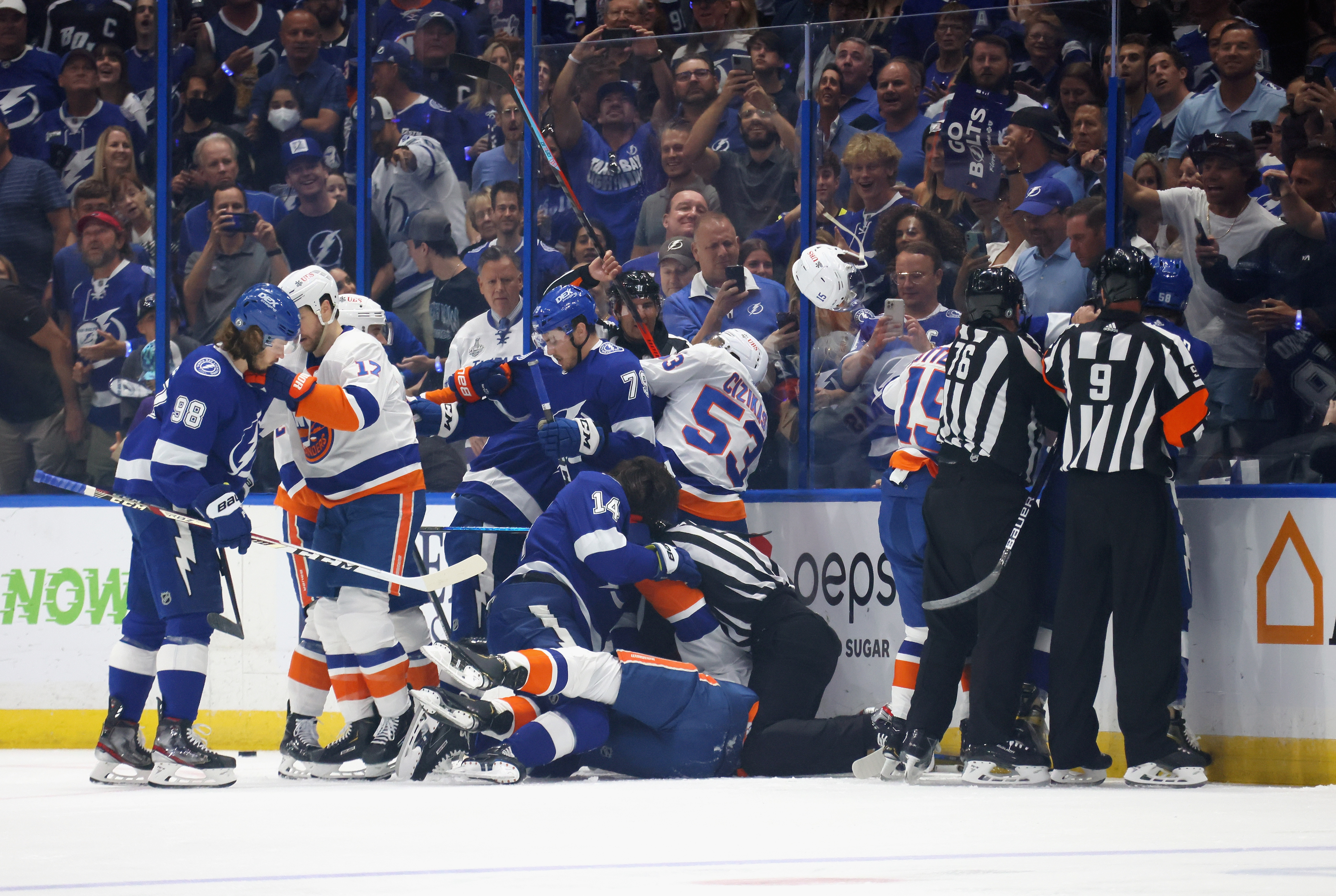 The Tampa Bay Lightning and the New York Islanders battle in Game Two of the Stanley Cup Semifinals during the 2021 Stanley Cup Playoffs at the Amalie Arena on June 15, 2021 in Tampa, Florida.