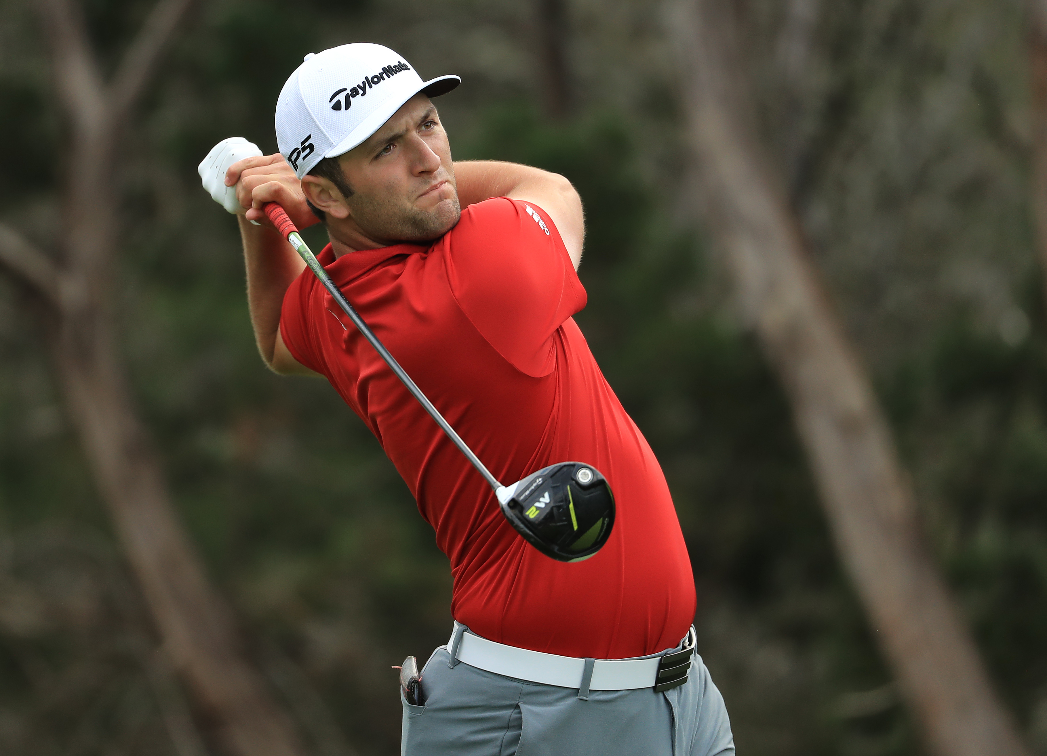 Jon Rahm of Spain tees off on the 2nd hole of his match during the semifinals of the World Golf Championships-Dell Technologies Match Play at the Austin Country Club on March 26, 2017 in Austin, Texas.