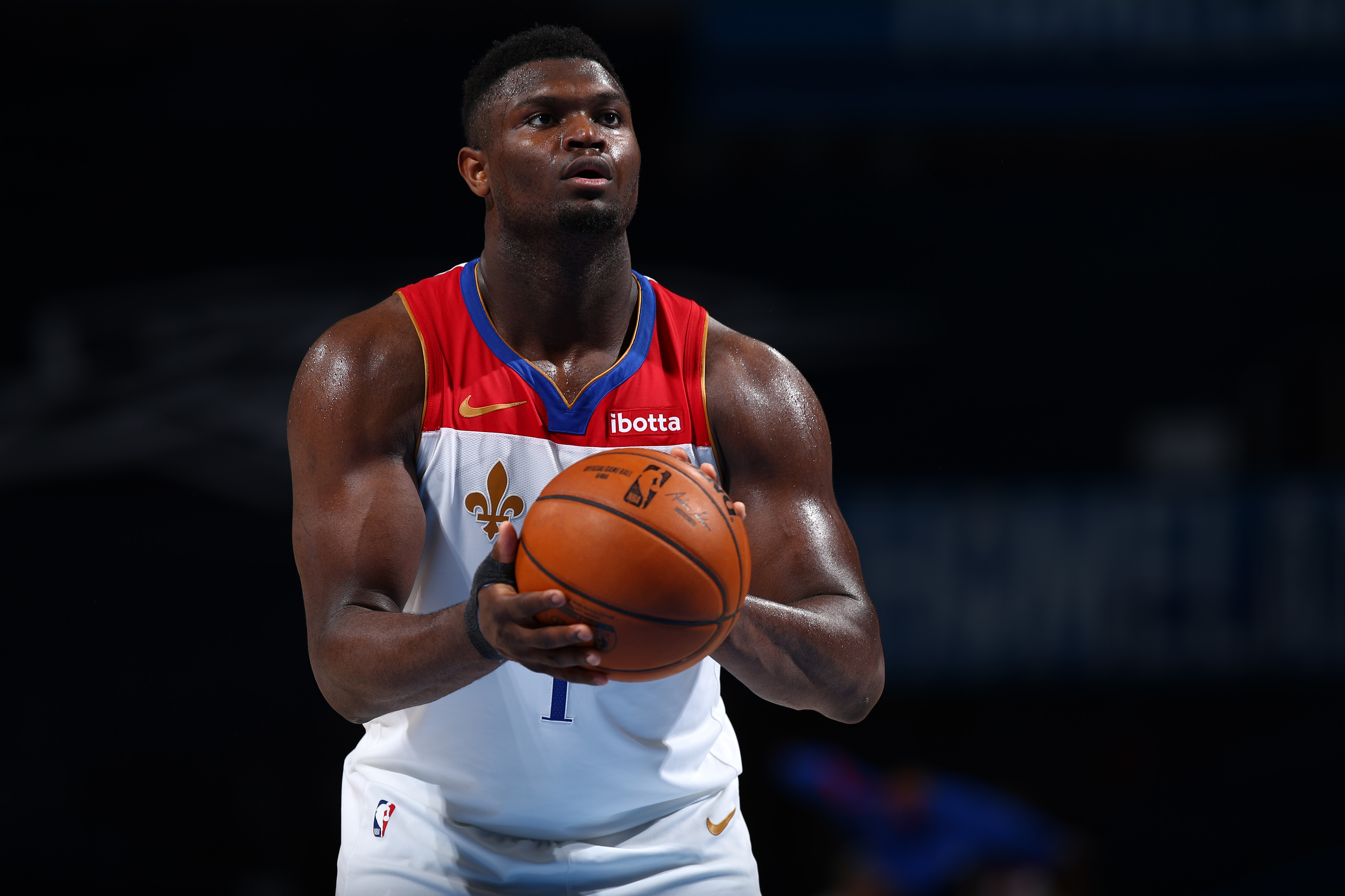 Zion Williamson of the New Orleans Pelicans shoots a free throw during the game against the Oklahoma City Thunder on April 29, 2021 at Chesapeake Energy Arena in Oklahoma City, Oklahoma.