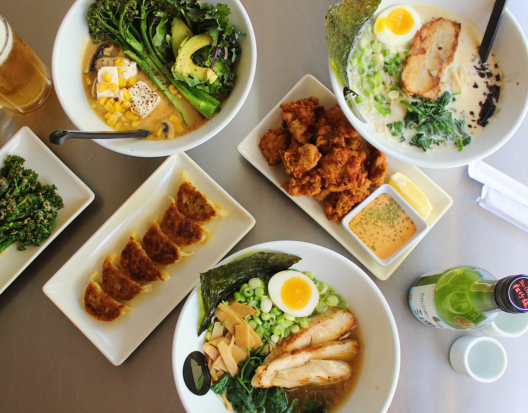 Bowls of ramen and assorted appetizers from Silverlake Ramen