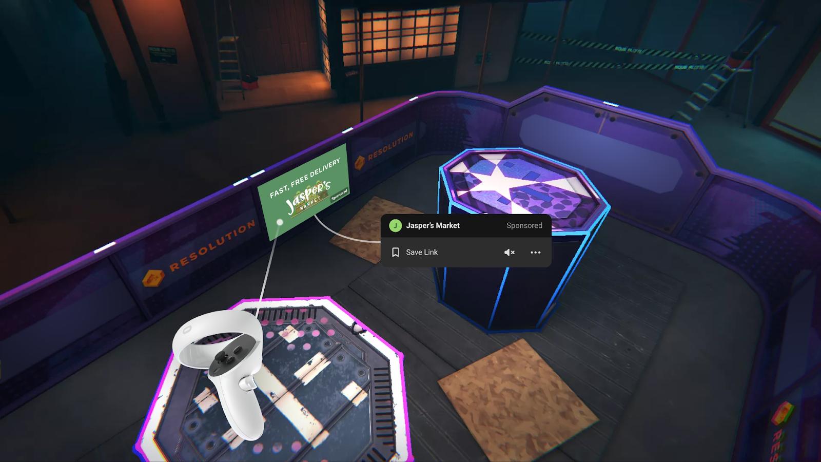 Advertisement within the Oculus Quest game Blaston.