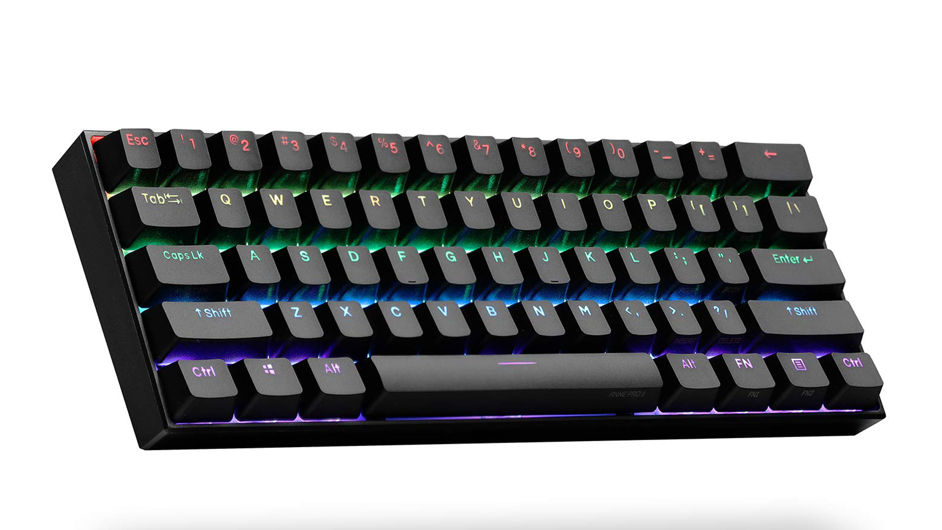 A product shot of the Anne Pro 2 mechanical keyboard