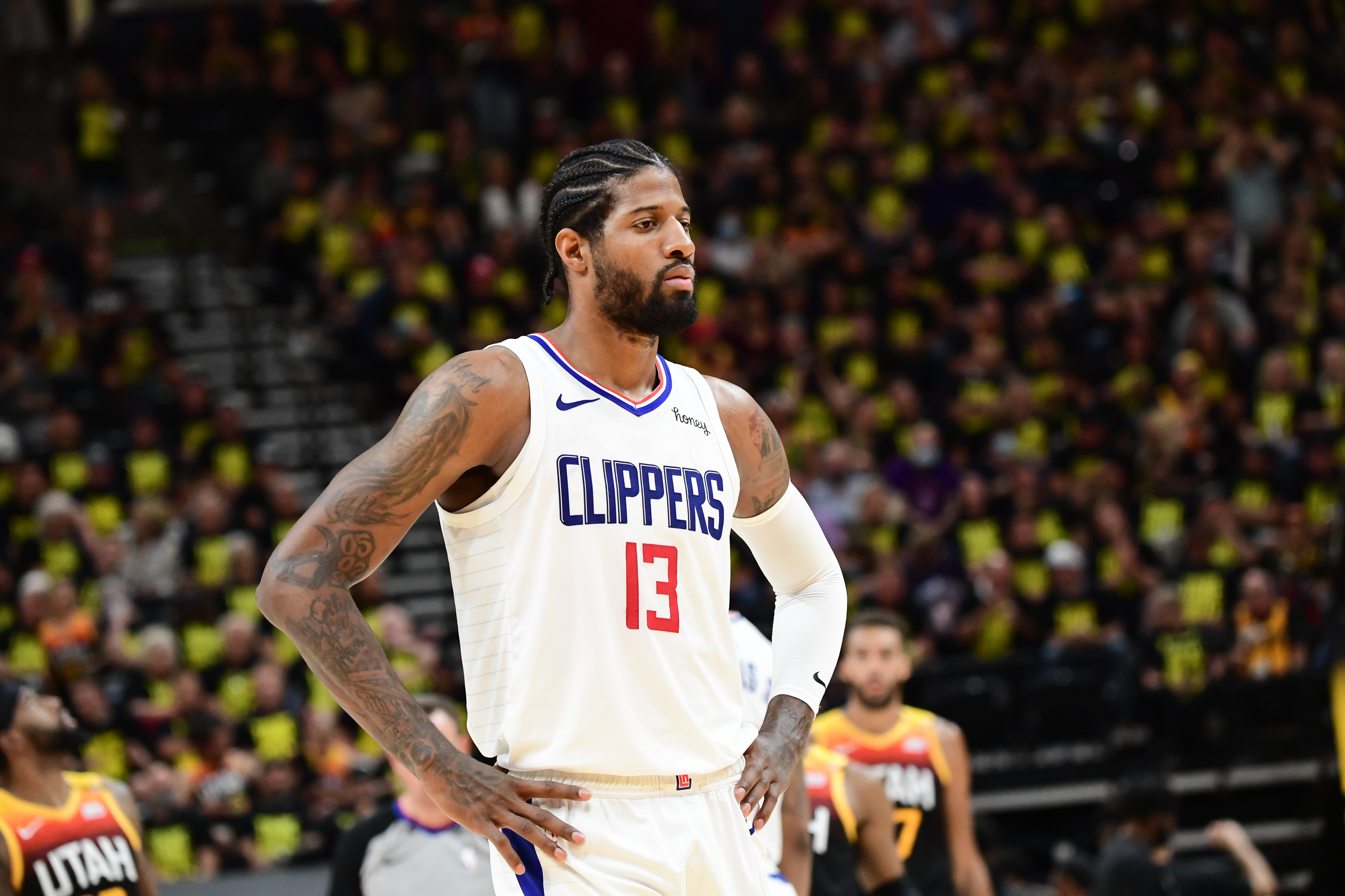 Paul George of the LA Clippers looks on during the game against the Utah Jazz during Round 2, Game 5 of the 2021 NBA Playoffs on June 16, 2021 at vivint.SmartHome Arena in Salt Lake City, Utah.