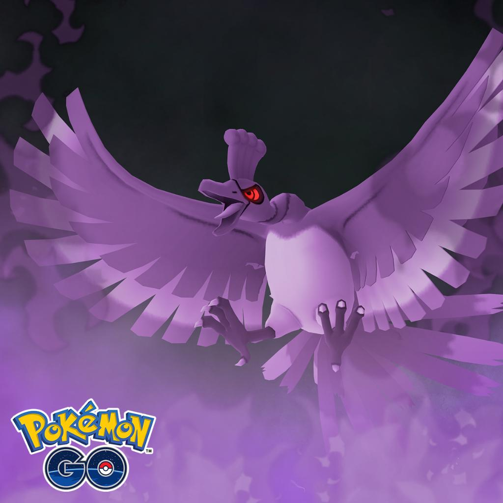 A purple Shadow Ho-oh in Pokémon Go
