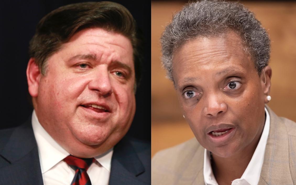 Gov. J.B. Pritzker, left, in 2019; Mayor Lori Lightfoot, right, in 2019.