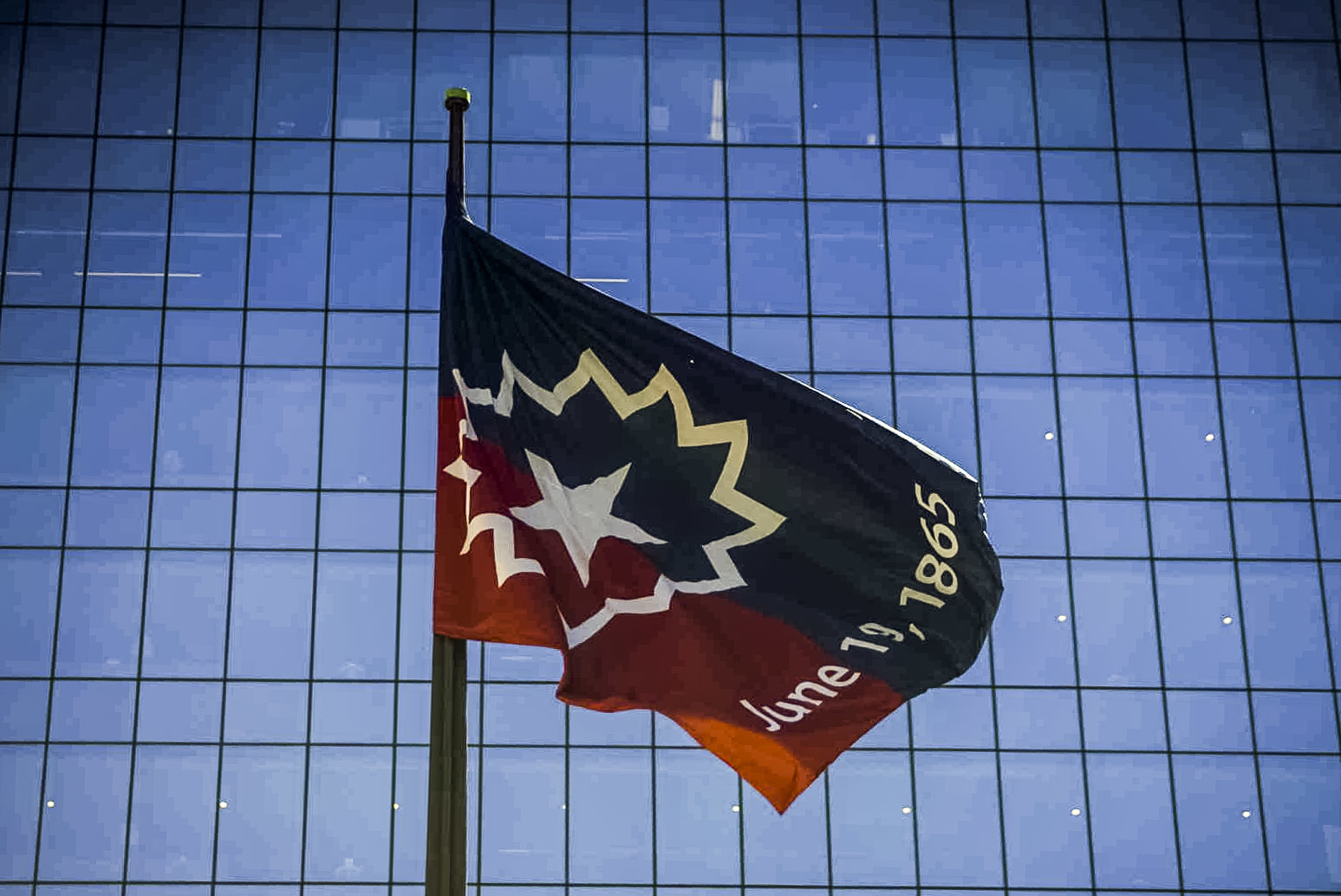 A Juneteenth flag was raised at Daley Center Plaza Monday, June 14, 2021.