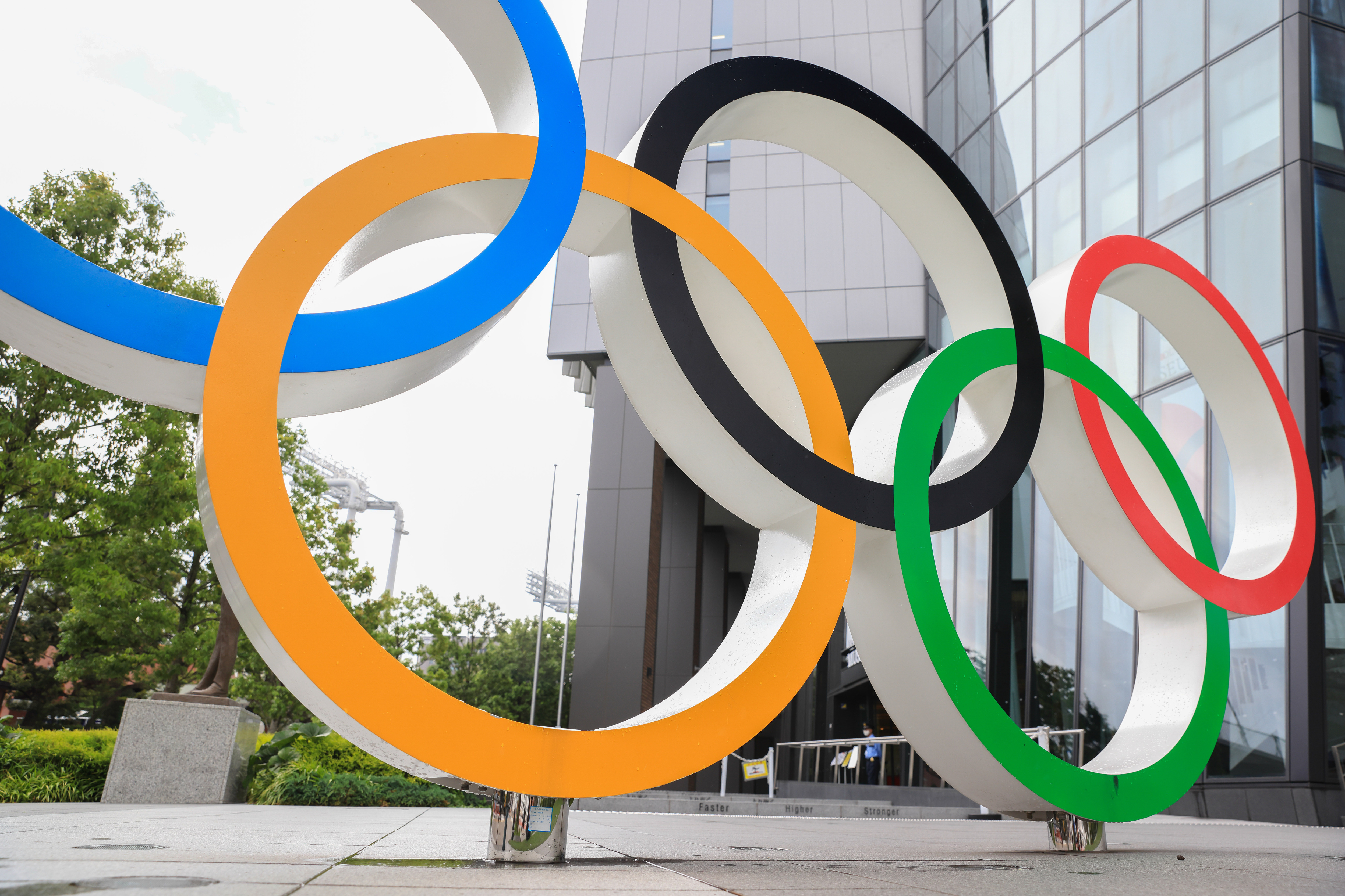 Olympic Rings installation in front of Japan Olympic Museum...