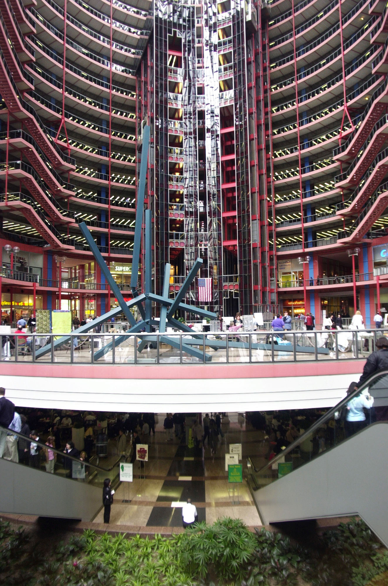 The soaring atrium at the James R. Thompson Center, as seen in 2003.