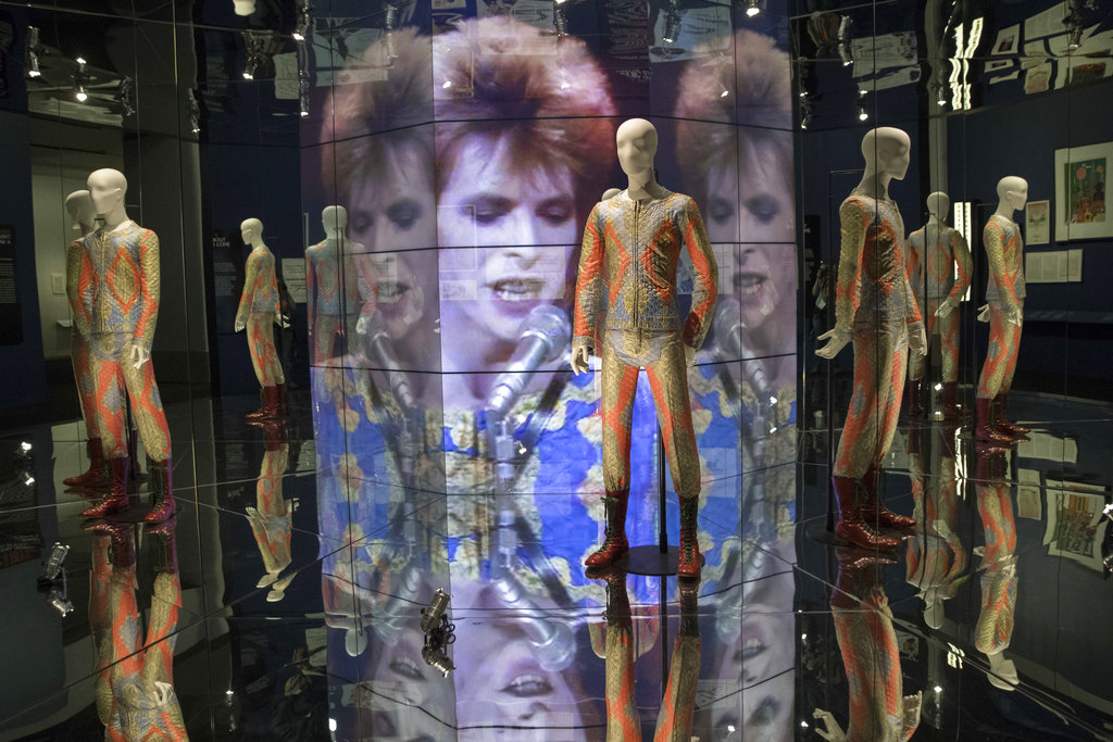 """A quilted two piece suit worn at the """"David Bowie is"""" exhibited at the Brooklyn Museum."""