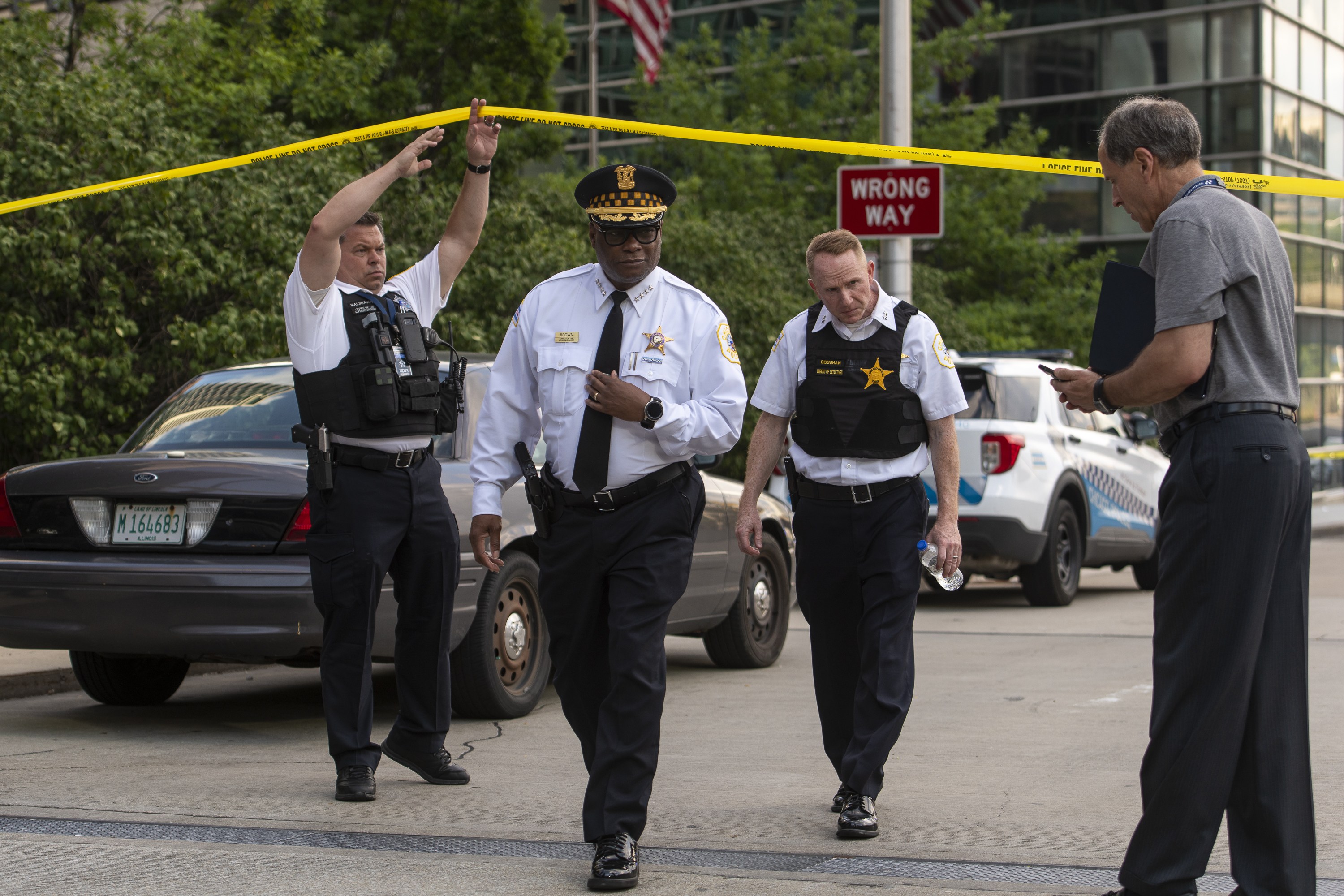 Chicago Police Supt. David Brown, center, walks over to reporters at the scene where a 31-year-old woman was fatally stabbed Saturday afternoon in the 400 block of South Wacker Drive in The Loop neighborhood.