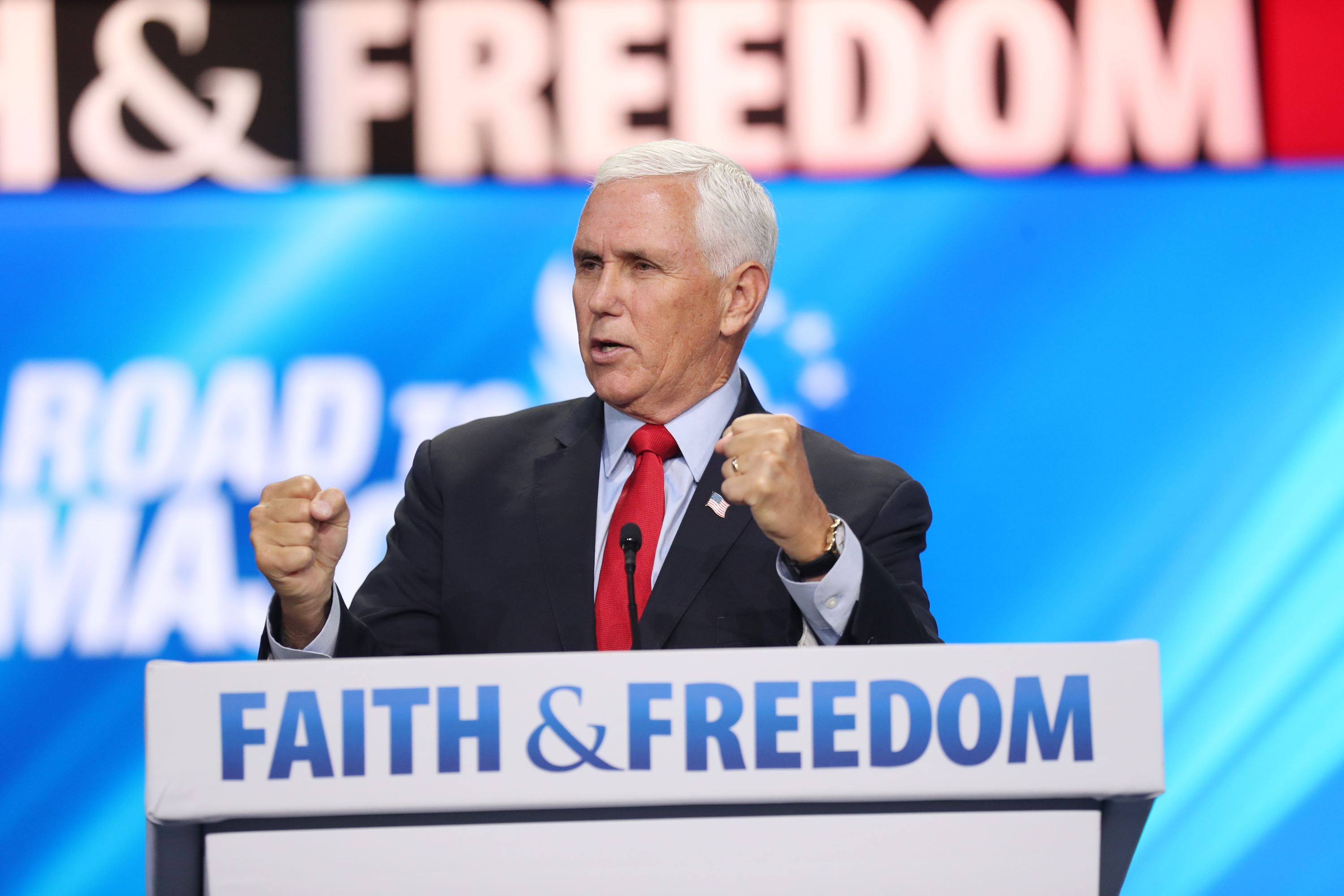 Former Vice President Mike Pence speaks during the Faith and Freedom Coalition's Road to Majority Conference.