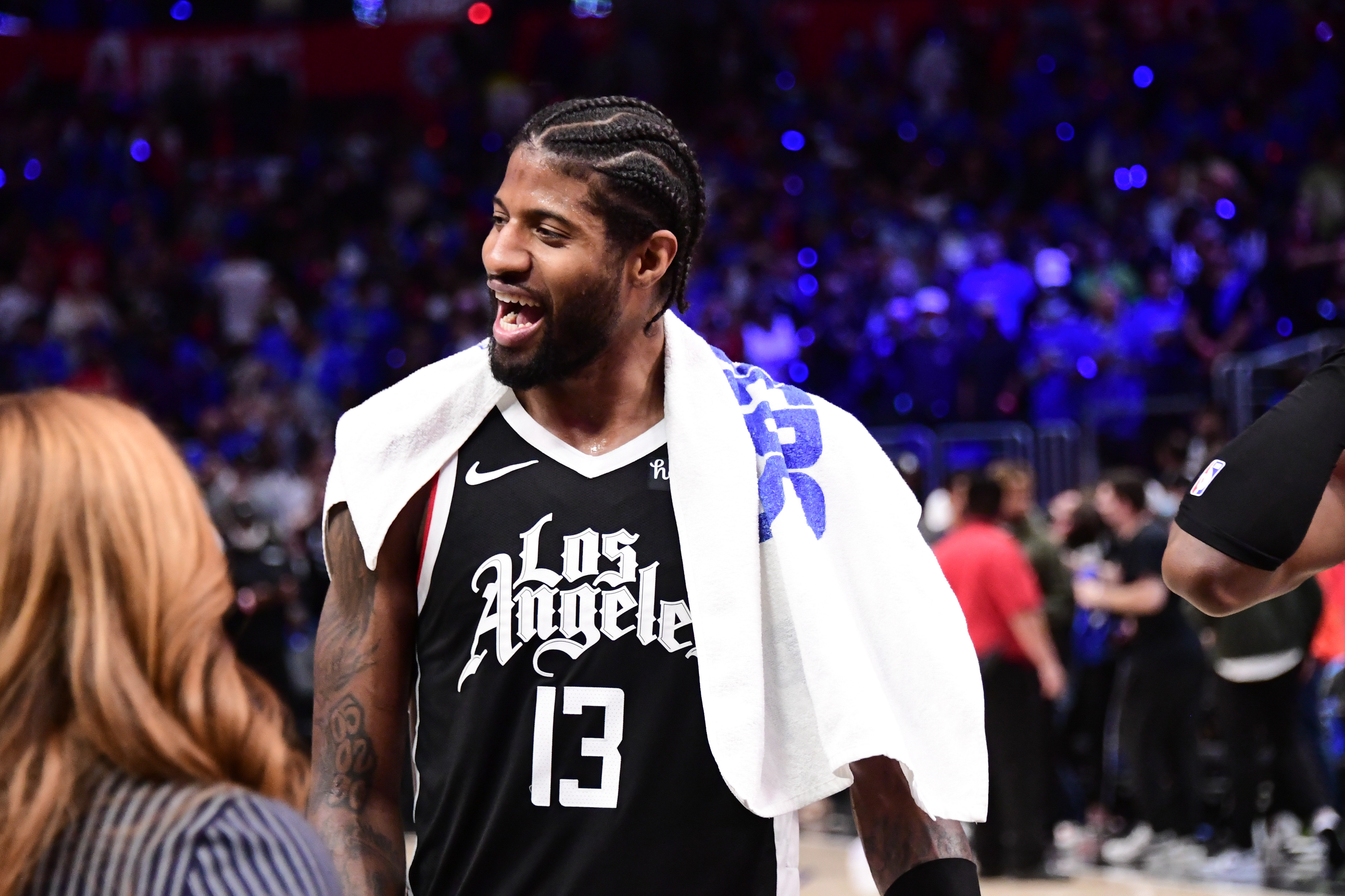 Paul George of the LA Clippers smiles after the game against the Utah Jazz during Round 2, Game 6 of the 2021 NBA Playoffs on June 18, 2021 at STAPLES Center in Los Angeles, California.