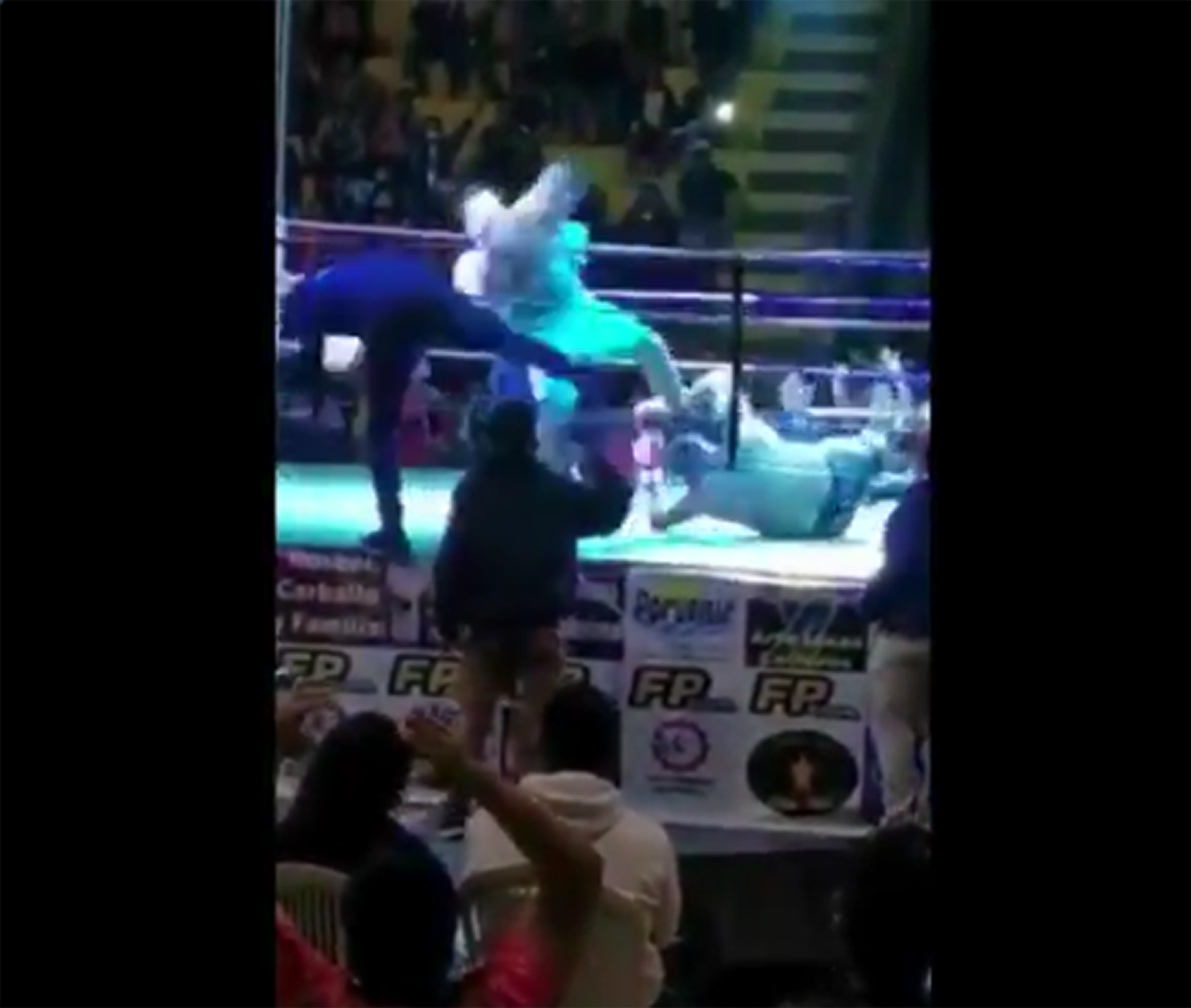 Pedro Tabares stomps on Saul Farah's head during their boxing match in Bolivia.
