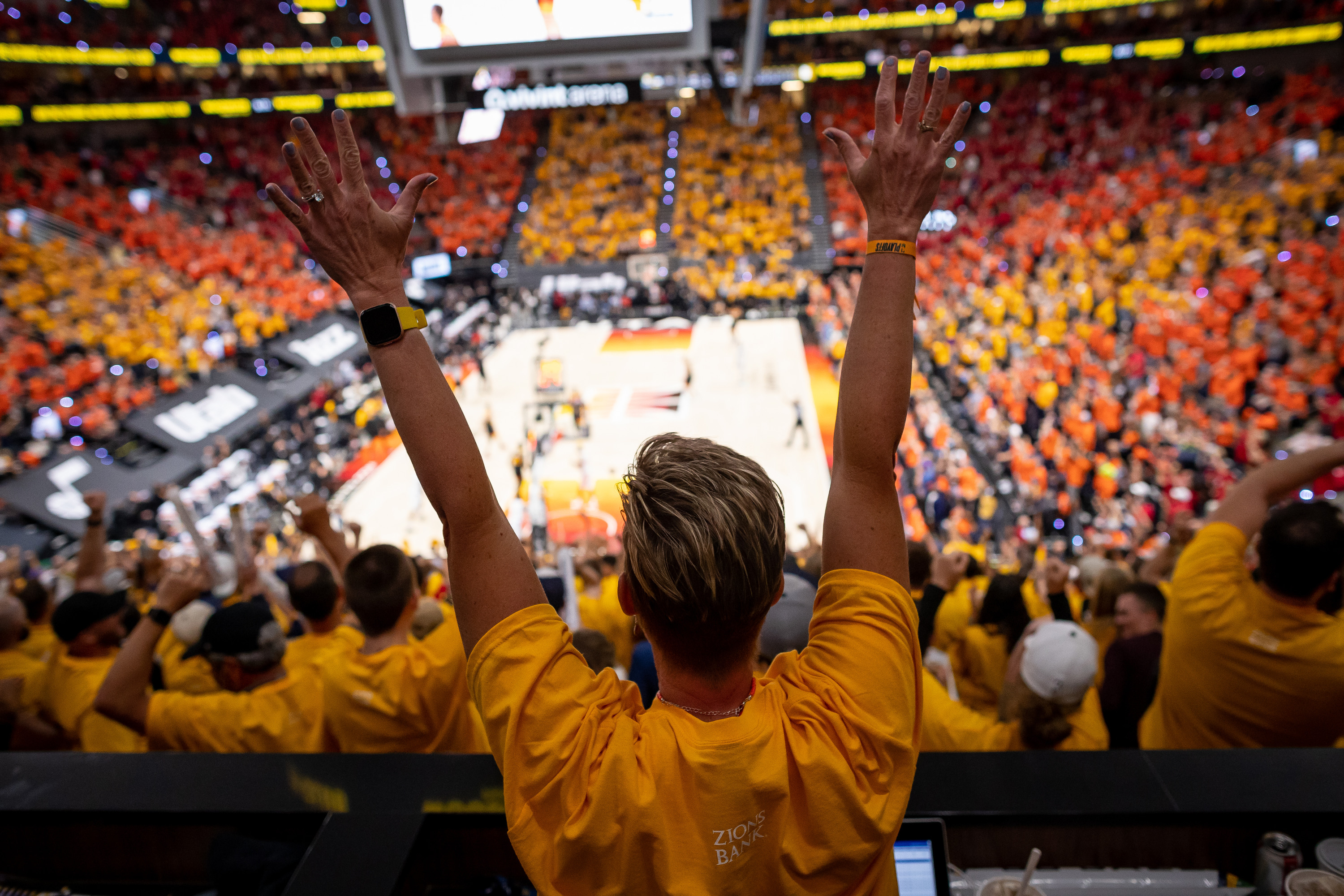 Fans react as the Utah Jazz score on the LA Clippers during game 1 of the Western Conference semifinals in Salt Lake City.