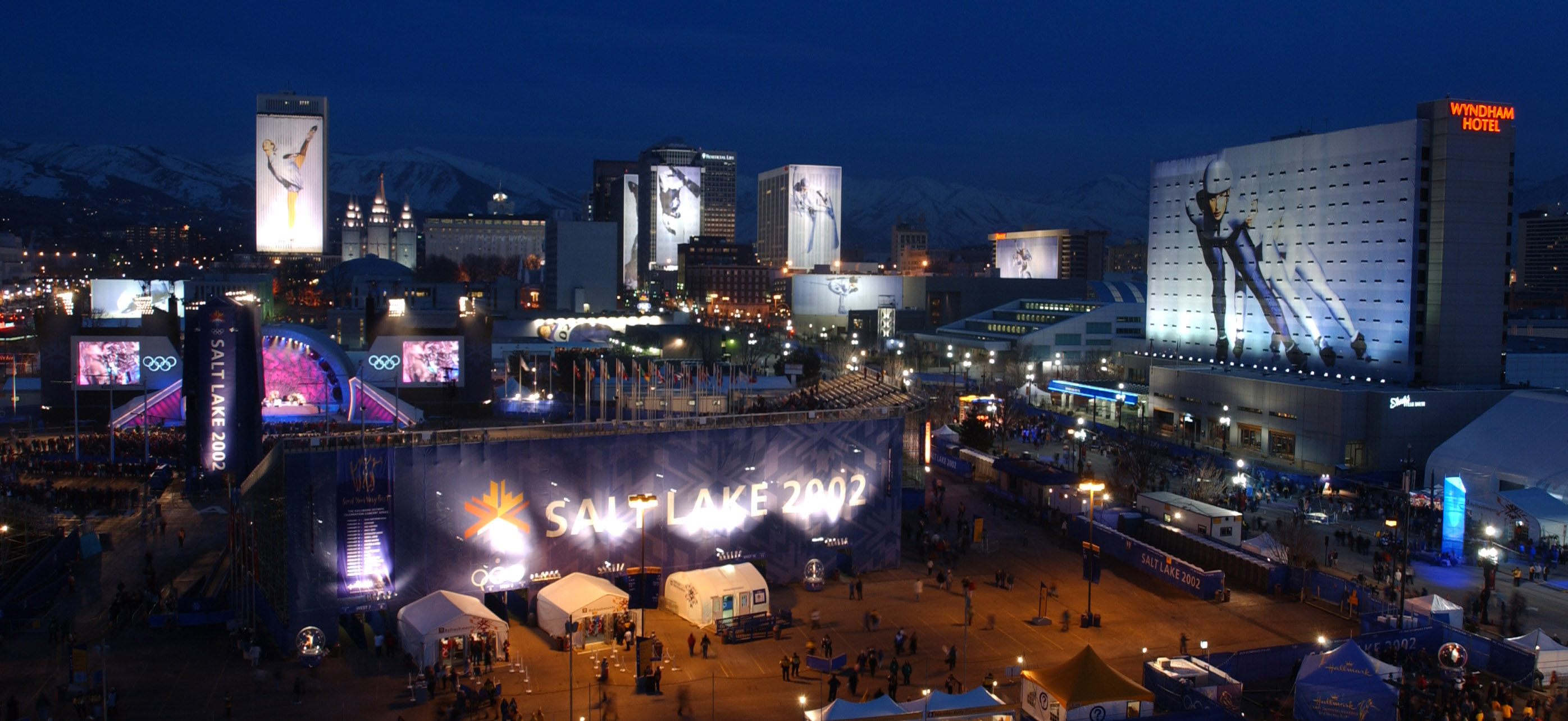 Downtown Salt Lake City is illuminated with Olympic excitement in 2002.