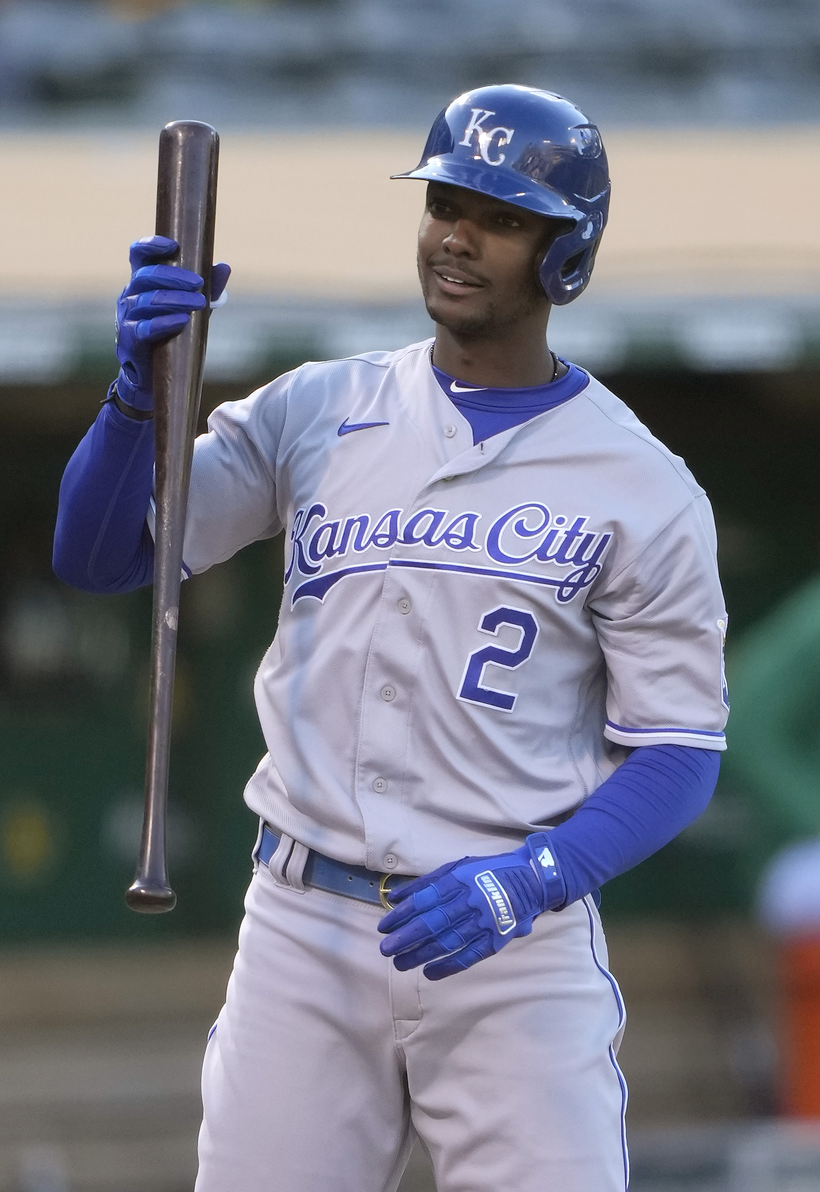 Michael A. Taylor #2 of the Kansas City Royals reacts to a called third strike against the Oakland Athletics in the top of the second inning at RingCentral Coliseum on June 10, 2021 in Oakland, California.