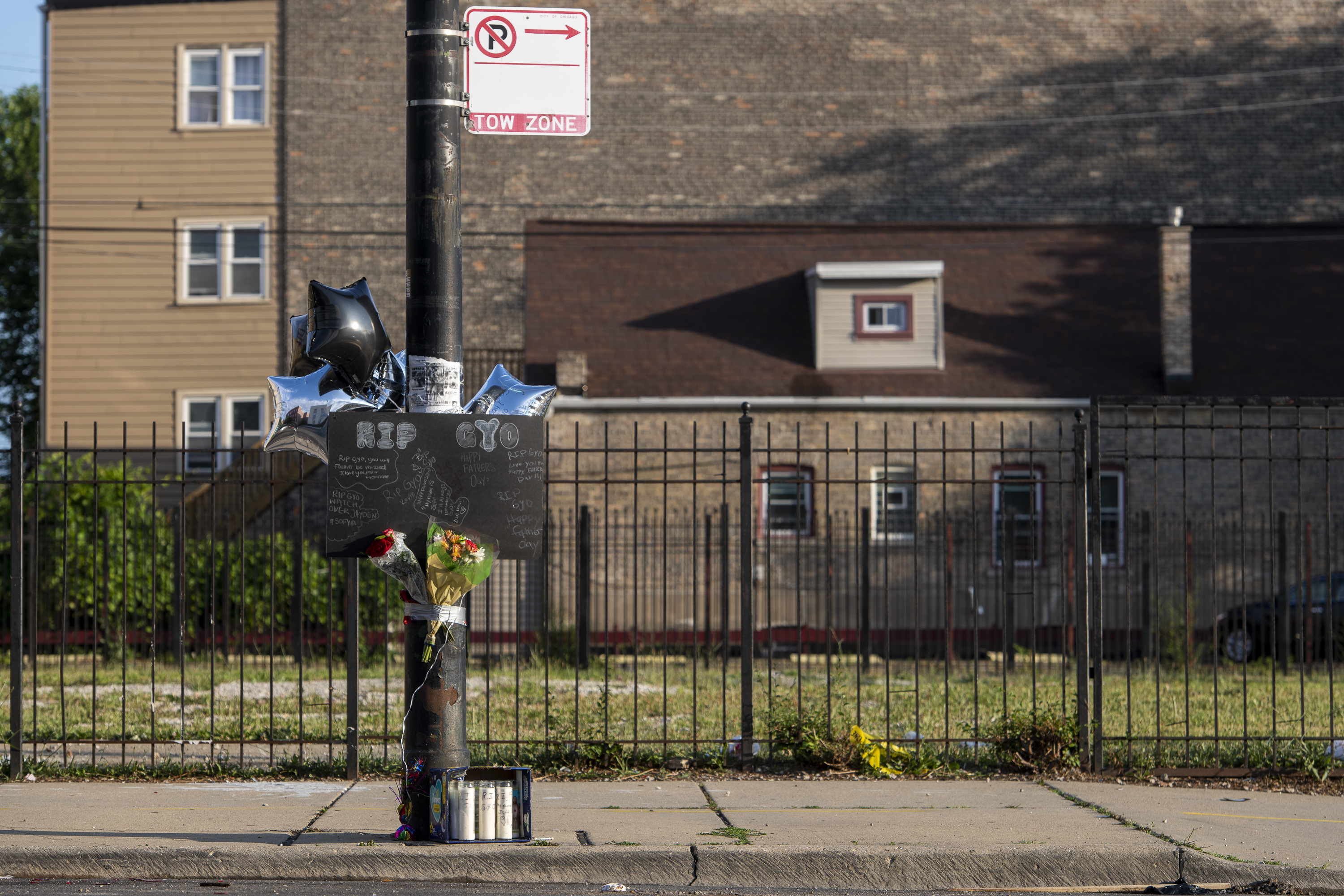 A memorial for Gyovanny Arzuaga, who was shot and killed in the 3200 block of West Division St. in Humboldt Park, is seen Sunday. Arzuaga was killed on Saturday while celebrating Puerto Rican Day, Sunday, June 20, 2021. Gyovanny was traveling with Yasmin Perez, who was critically wounded in the same shooting.