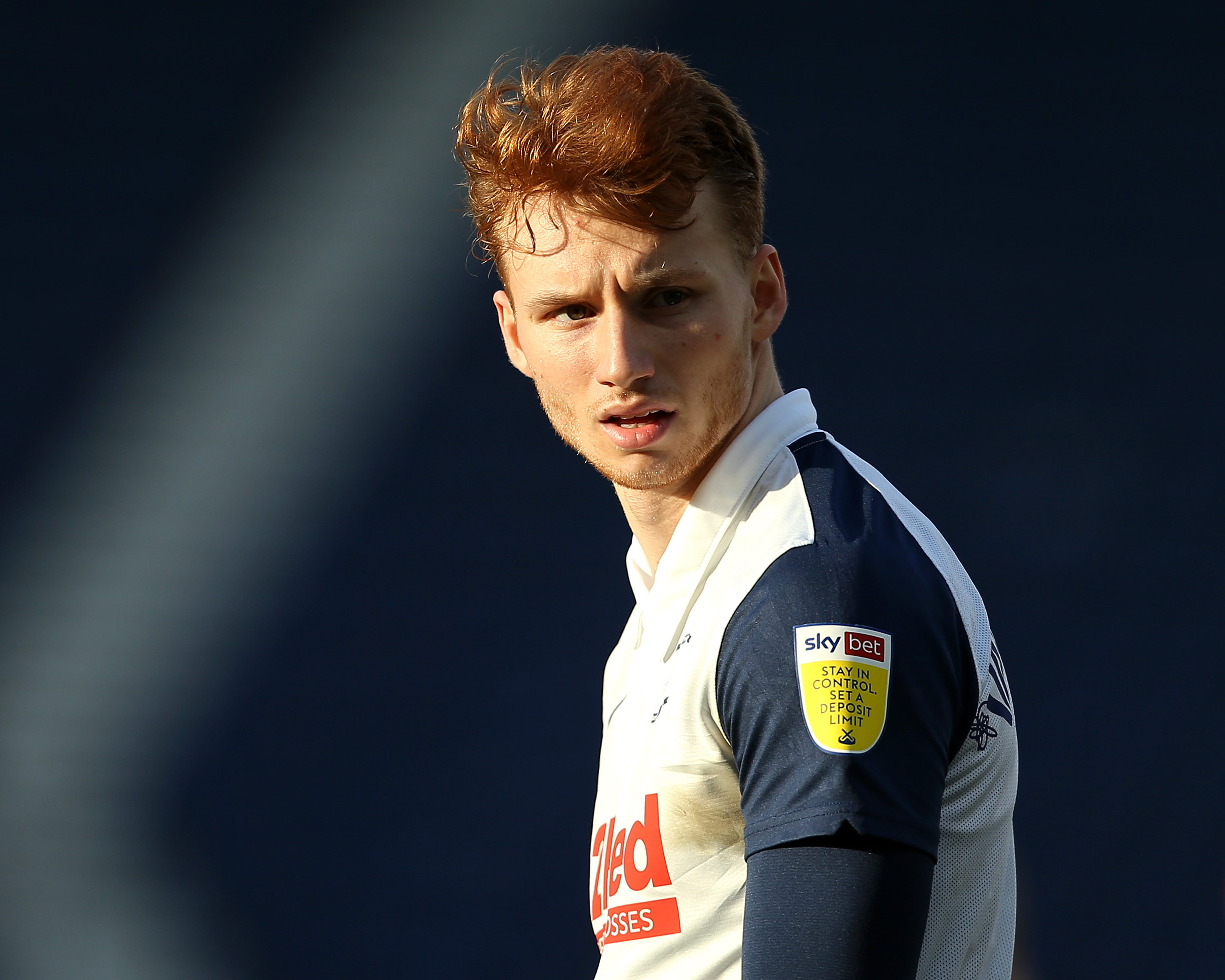 Sepp van den Berg pictured playing for Preston North End against Huddersfield Town in the Championship in February 2021.